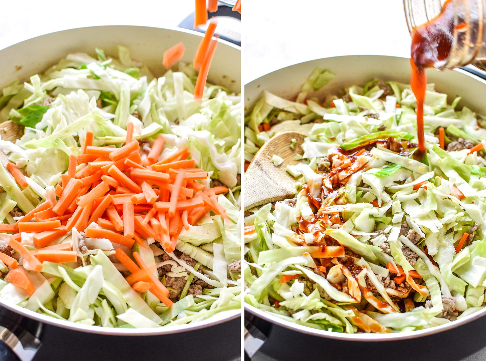 Left: Adding carrots to the pan. Right: Adding sauce mixture to the pan of spicy ground turkey & cabbage stir fry.