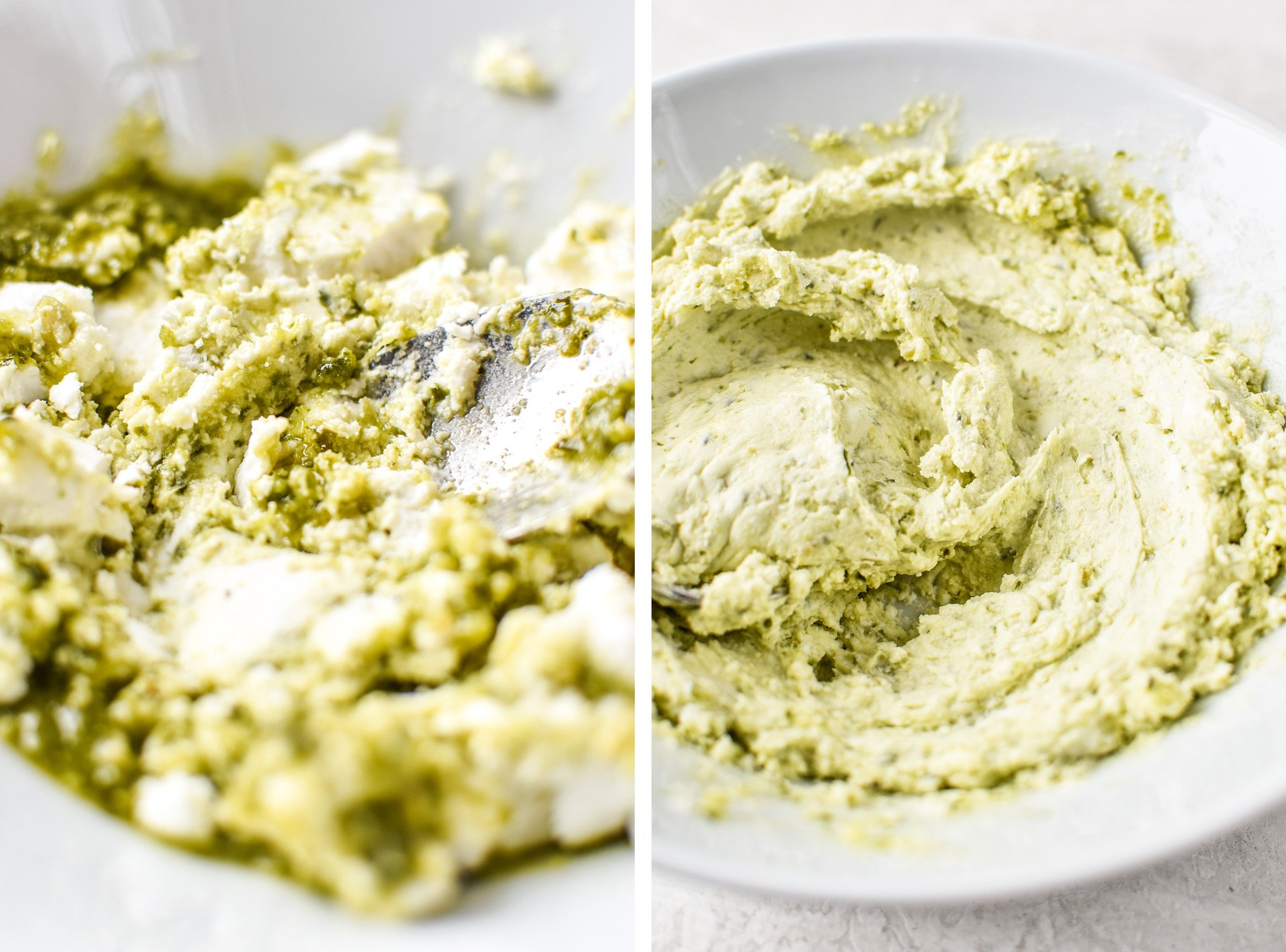Mixing up the ingredients in the Pesto Goat Cheese Dip.