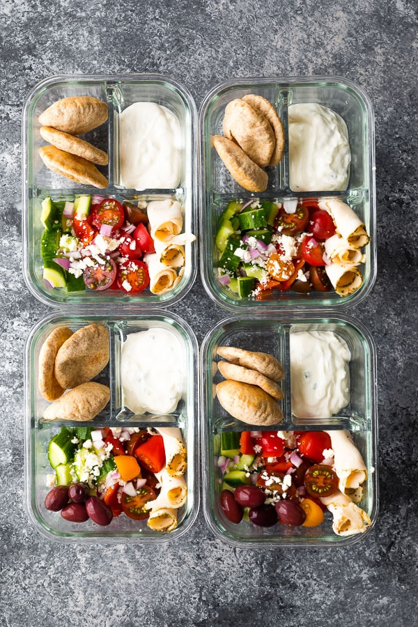 These greek salad bento boxes are an excellent no heat lunch meal prep option.
