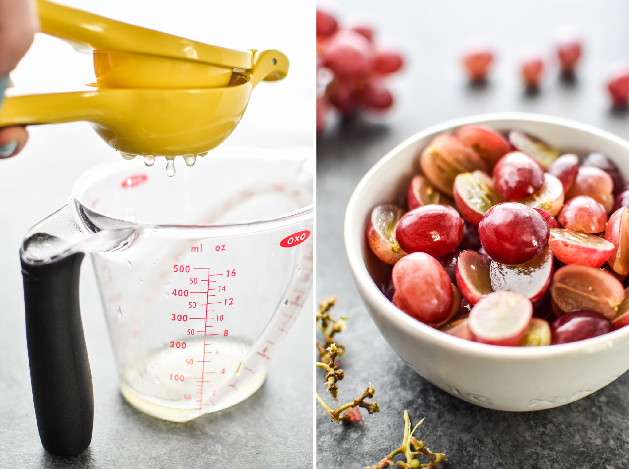 Left: Squeezing lemon juice to make the lemon poppyseed dressing. Right: Sliced grapes to be added to the salad.