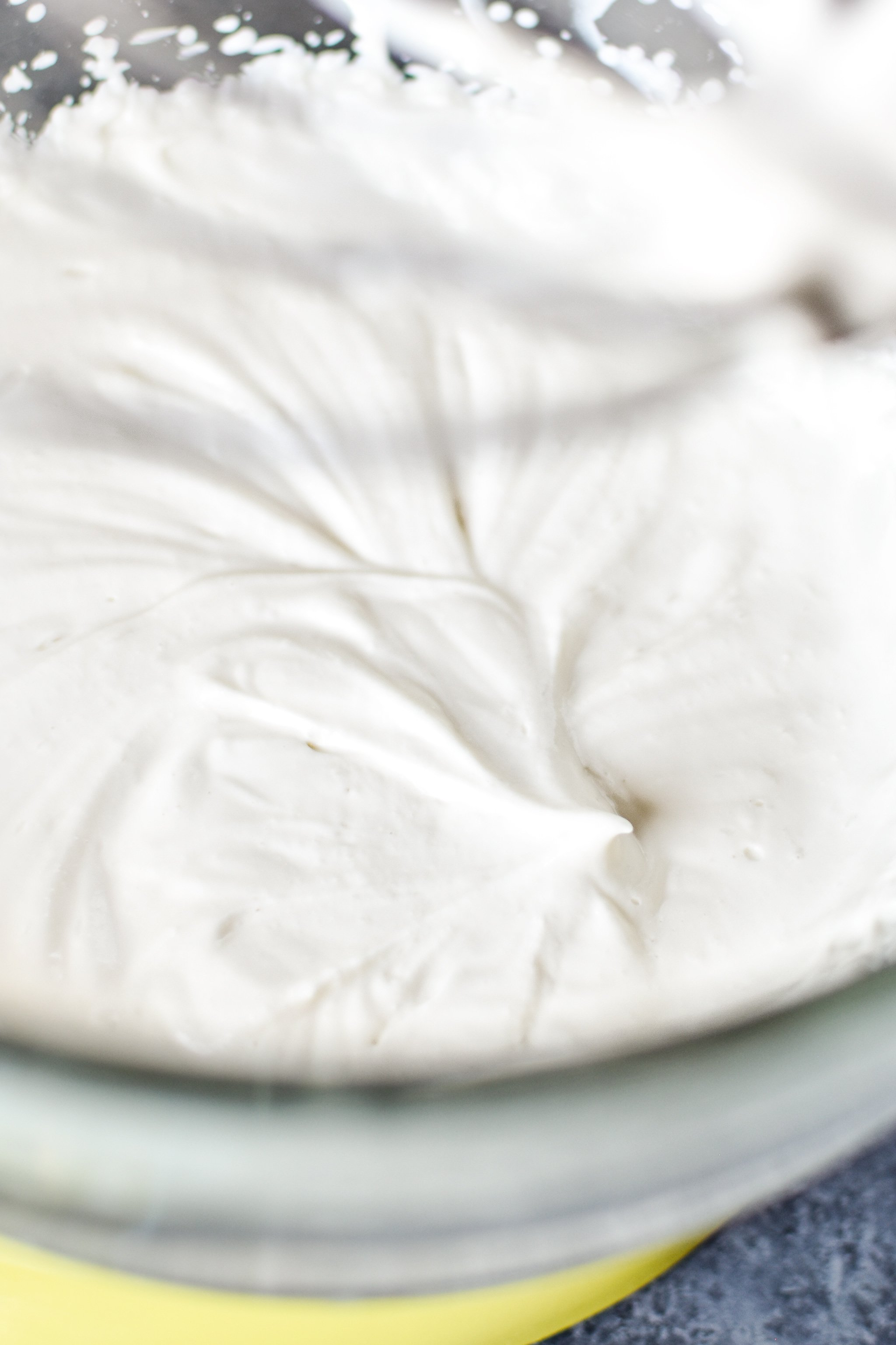 You want stiff-ish peaks when you make whipped Greek yogurt.