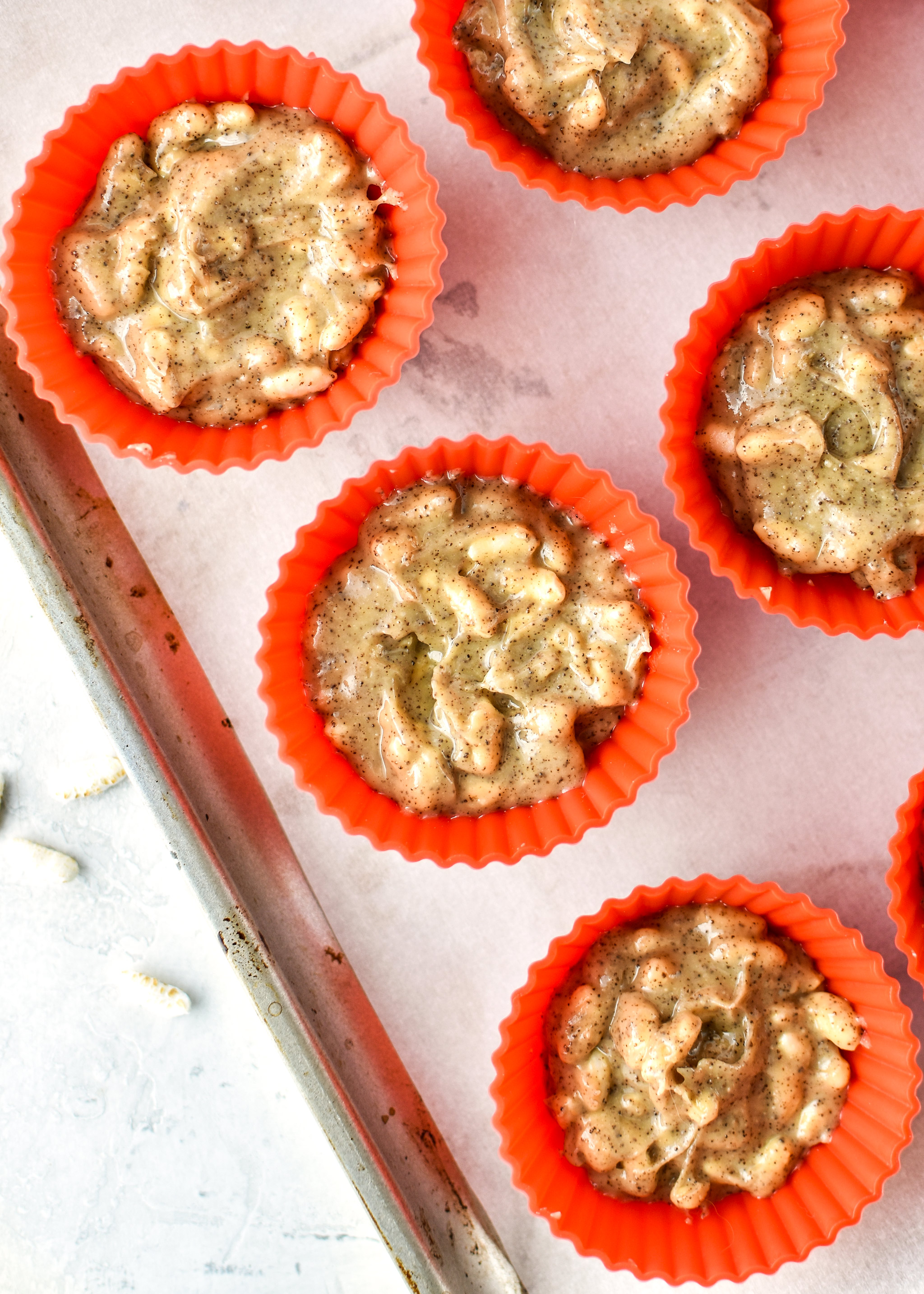 Espresso Crunch Cashew Butter Cups made in silicone baking cups.
