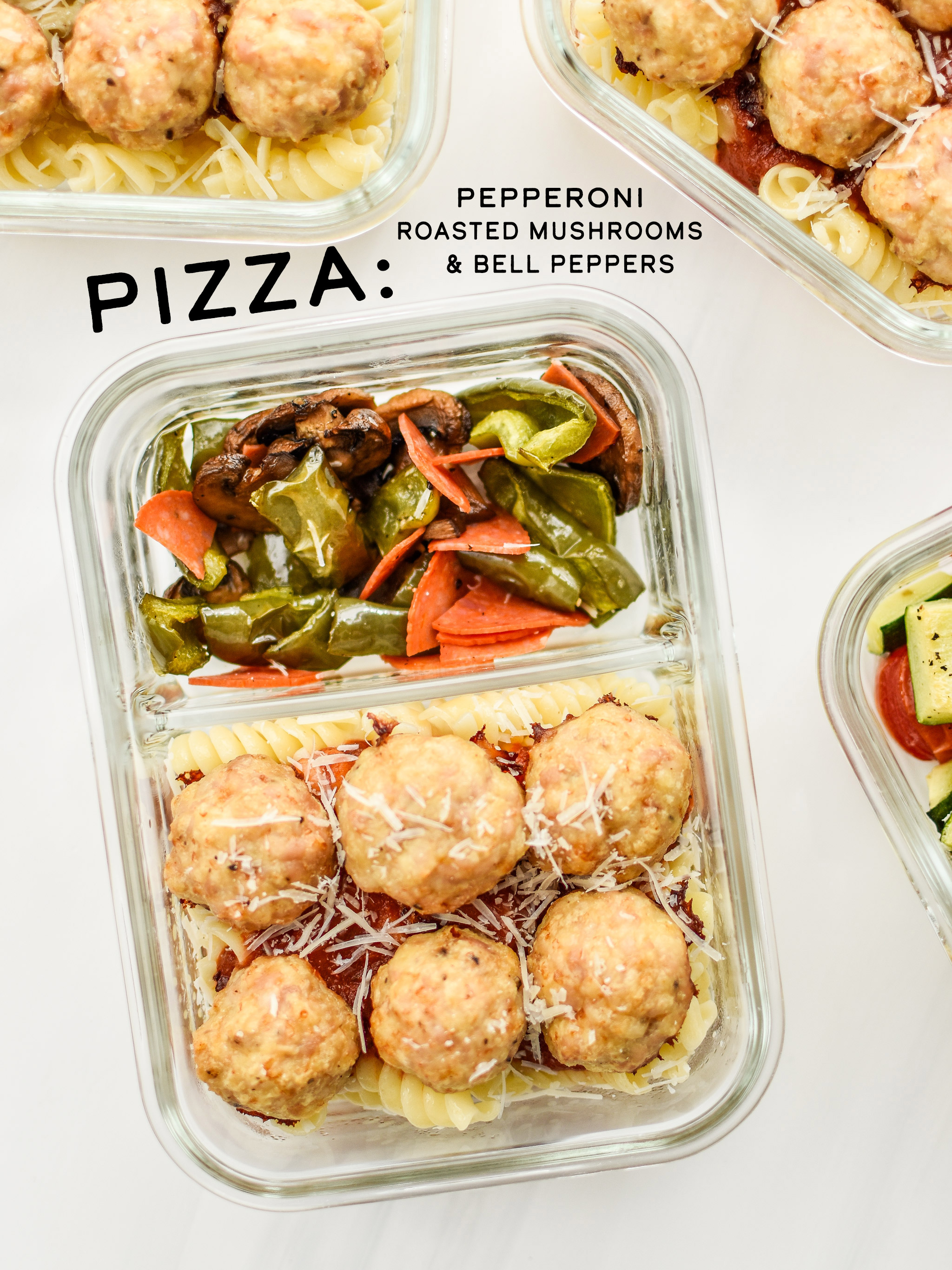 The pizza version of the chicken meatballs two ways meal prep lunches