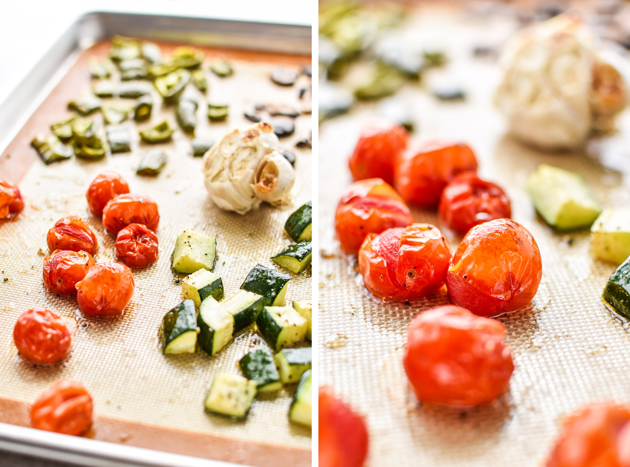 Cooked veggies on sheet pans for the chicken meatballs two ways meal prep lunches