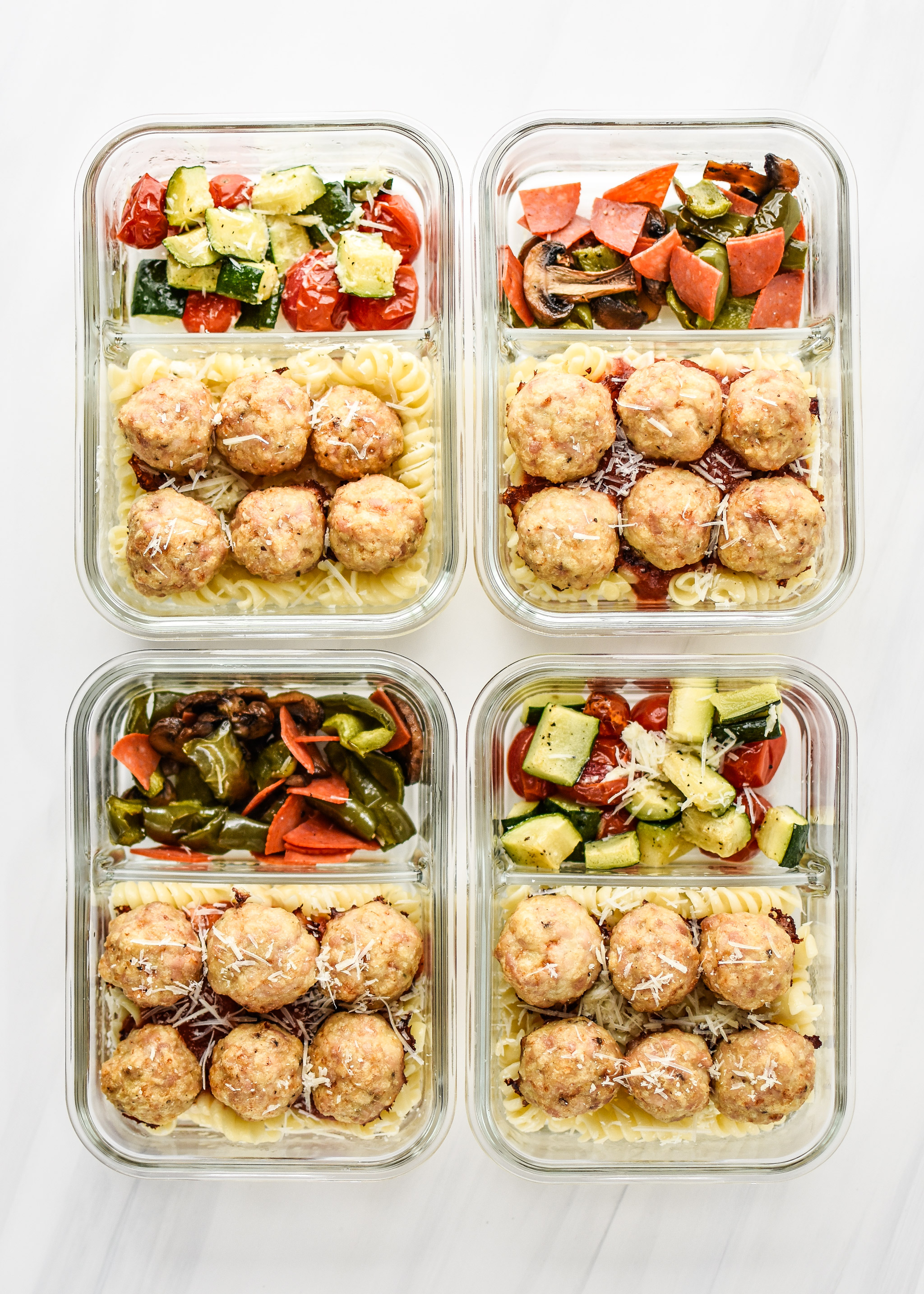 Four portions of the Chicken Meatballs Two Ways Meal Prep Lunches.