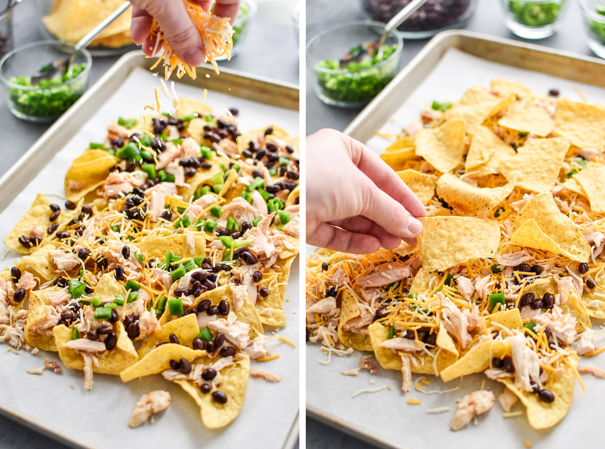 Adding cheese and then topping with a second layer of tortilla chips - prep ahead rotisserie chicken nachos.
