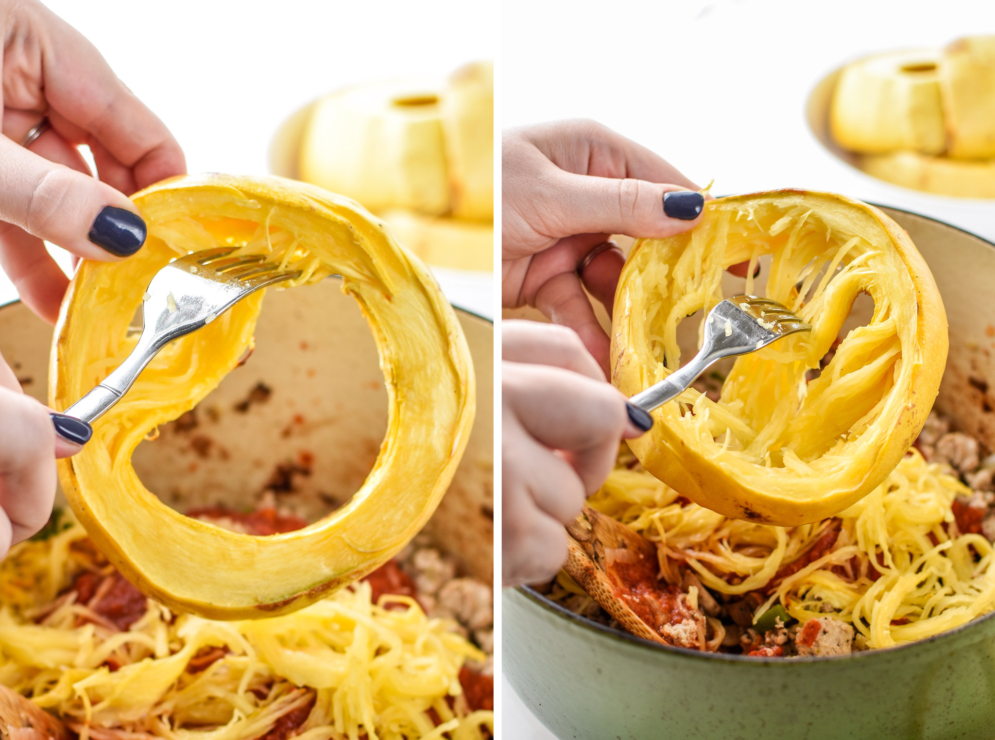 Using a fork to pull the squash noodles from the skin for the Low carb Spaghetti Squash Spaghetti Bake