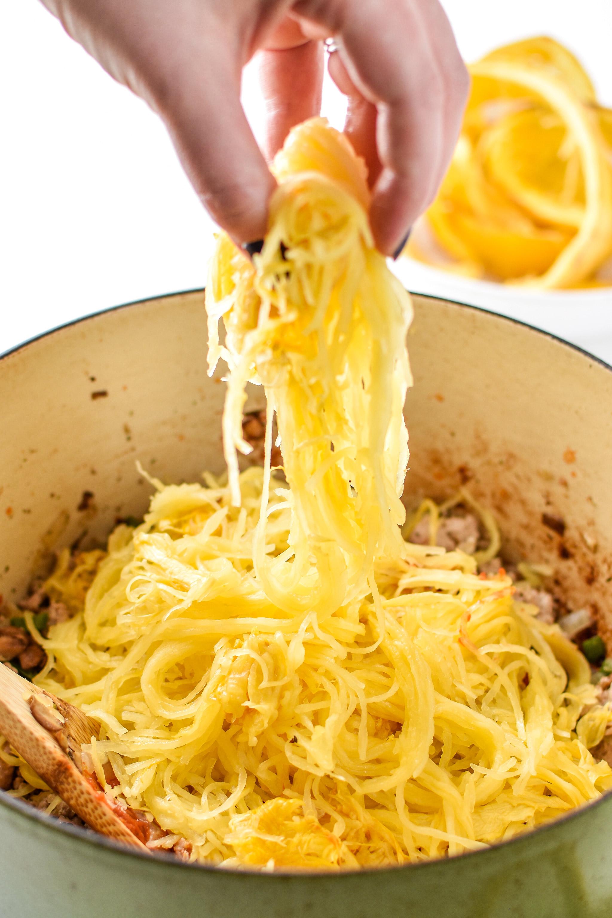 Noodles in the spaghetti squash spaghetti bake