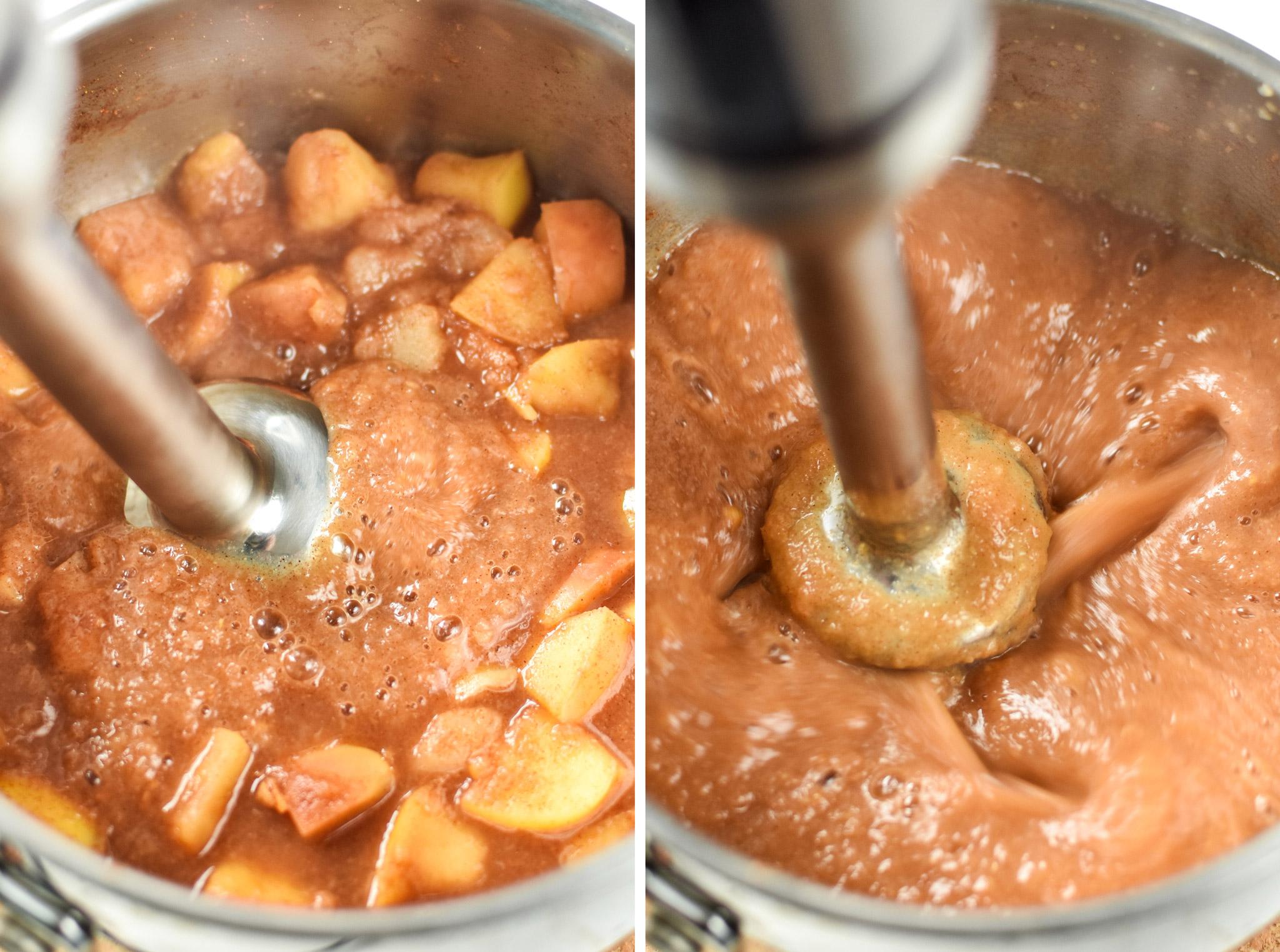 Blending the applesauce for the ginger pear cinnamon applesauce