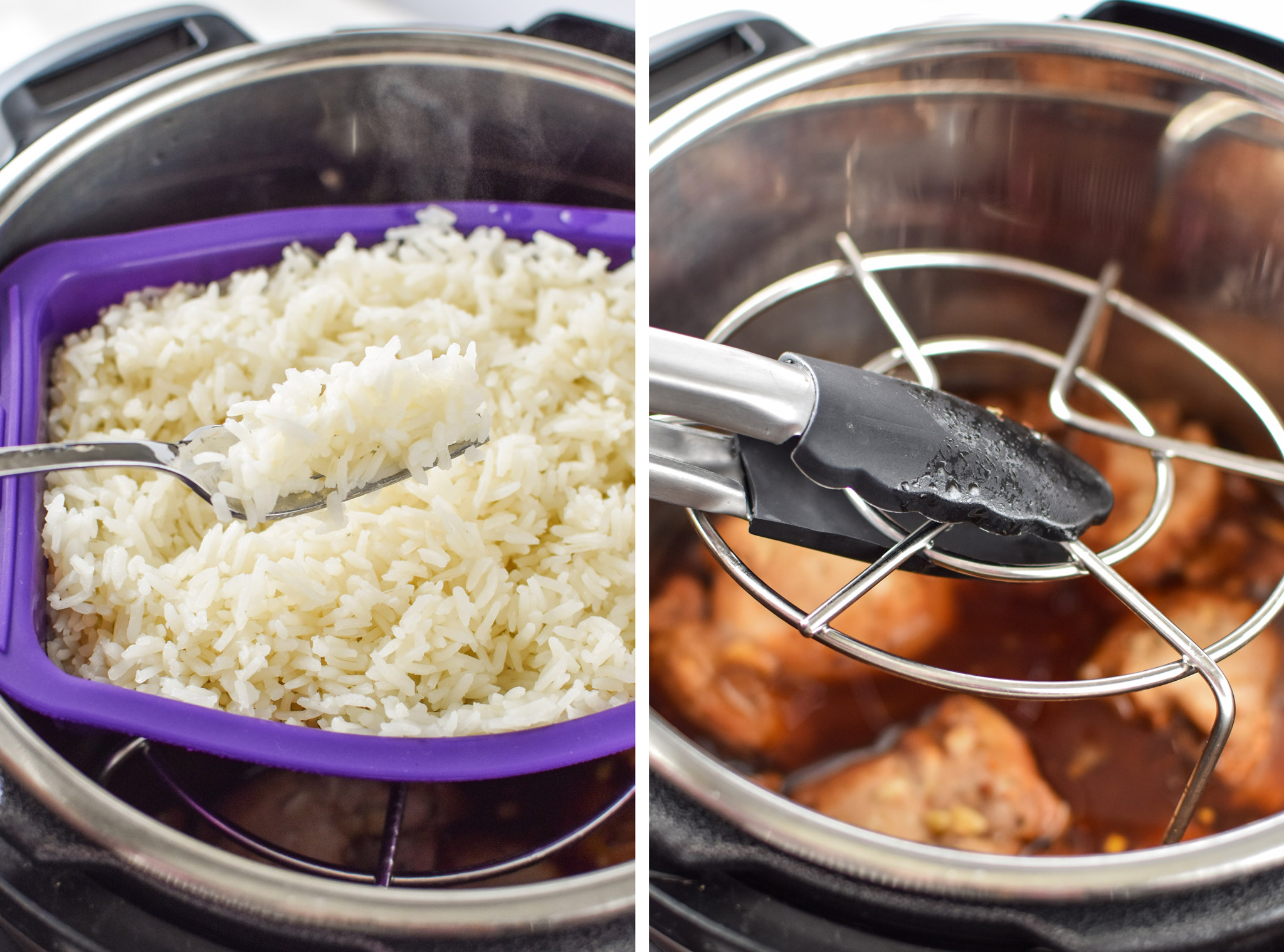 Left: Cooked rice for the Instant Pot Honey Garlic Chicken Meal Prep Bowls. Right: Removing the trivet from the Instant Pot.
