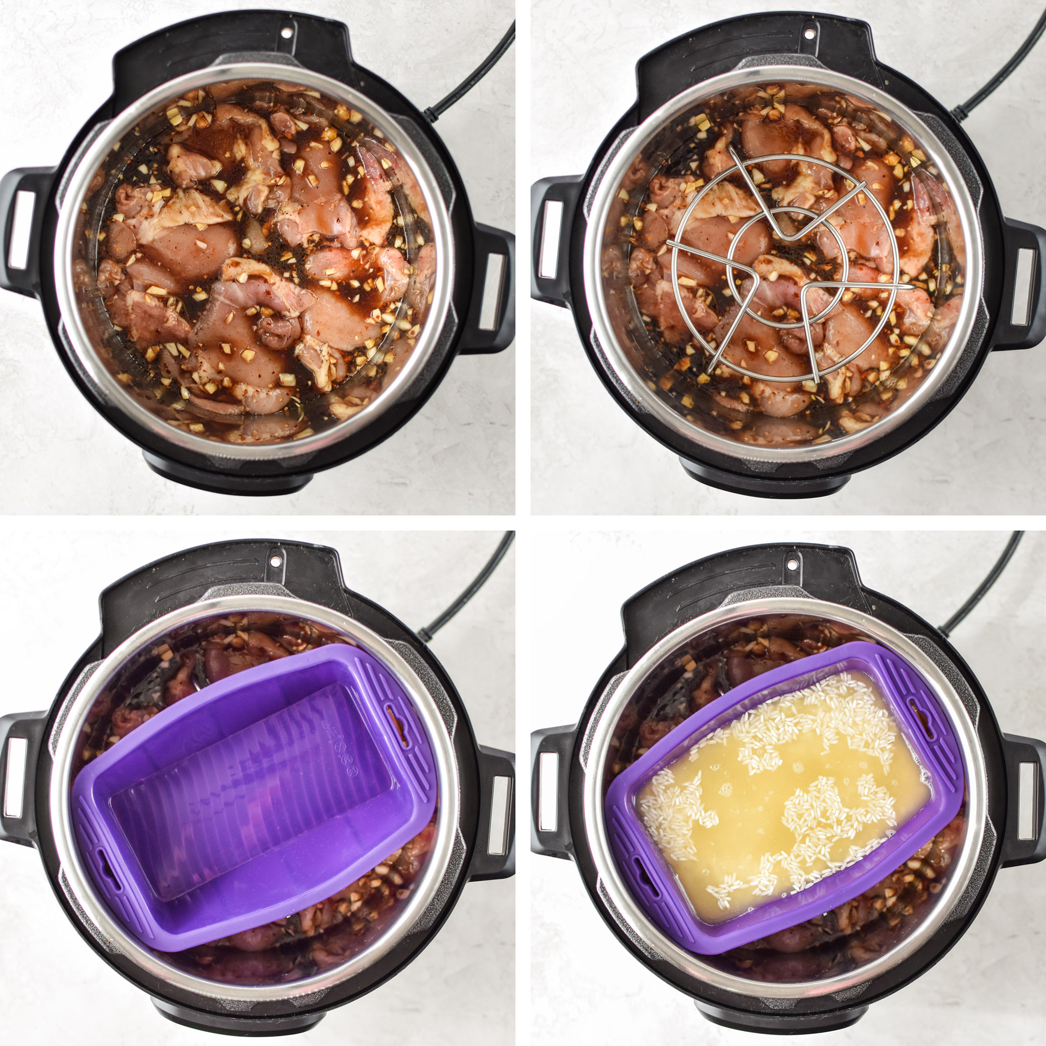 Four steps to pot in pot cooking method for the instant pot honey garlic chicken meal prep bowls