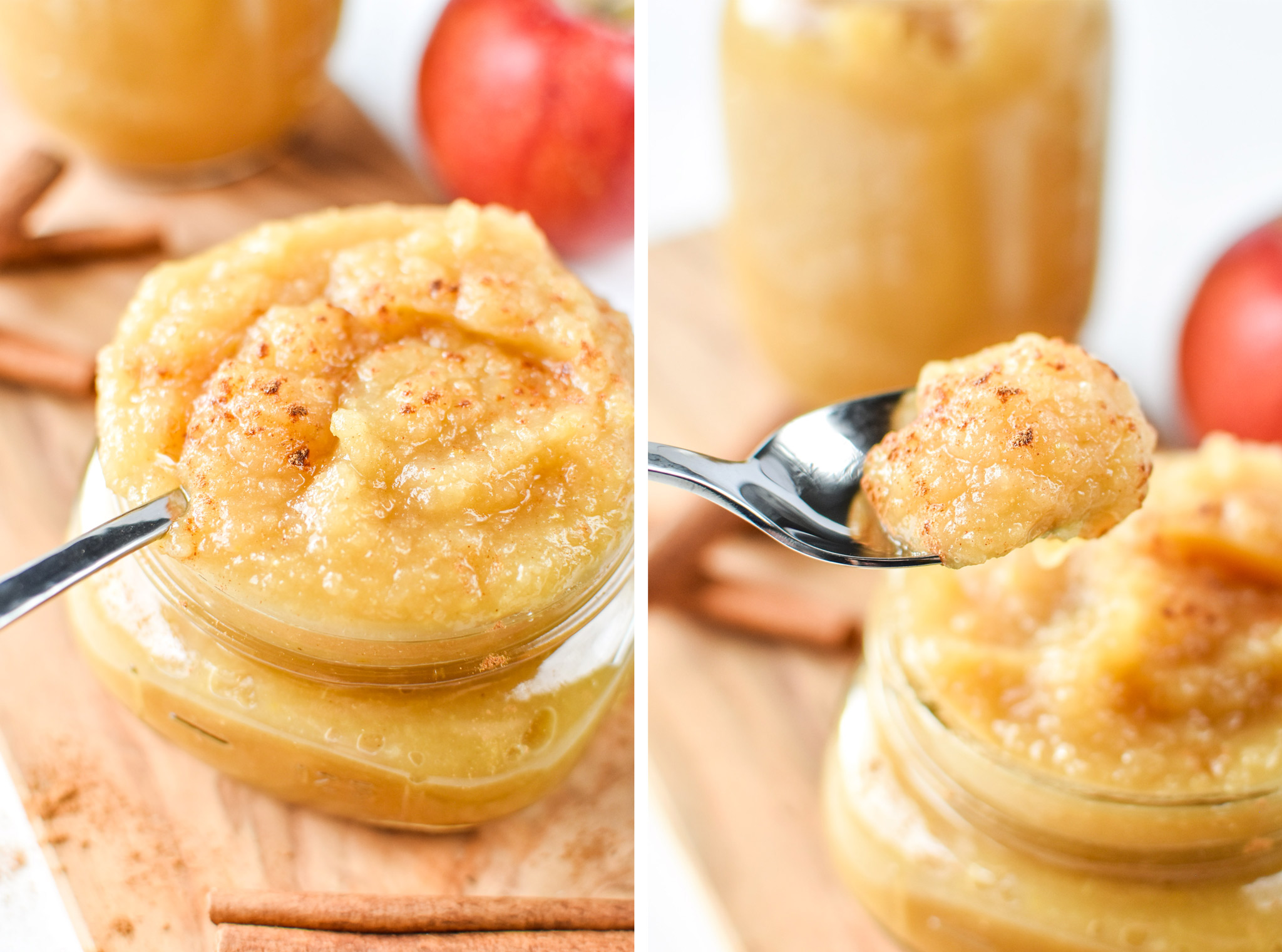 A spoonful of homemade applesauce. Store bought vs homemade: Which is cheaper?