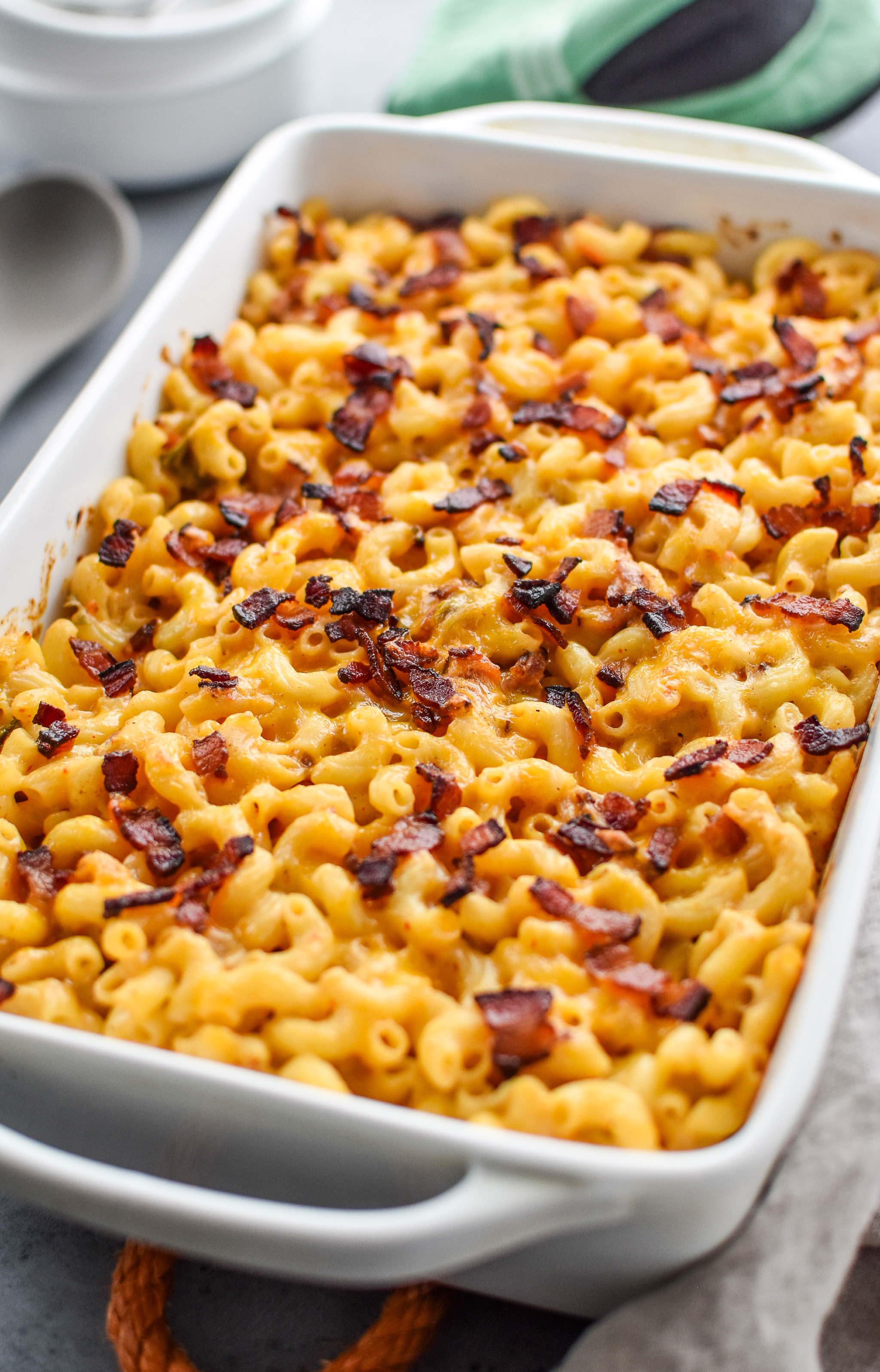 Kimchi and bacon greek yogurt macaroni and cheese fresh from the oven ready for dinner