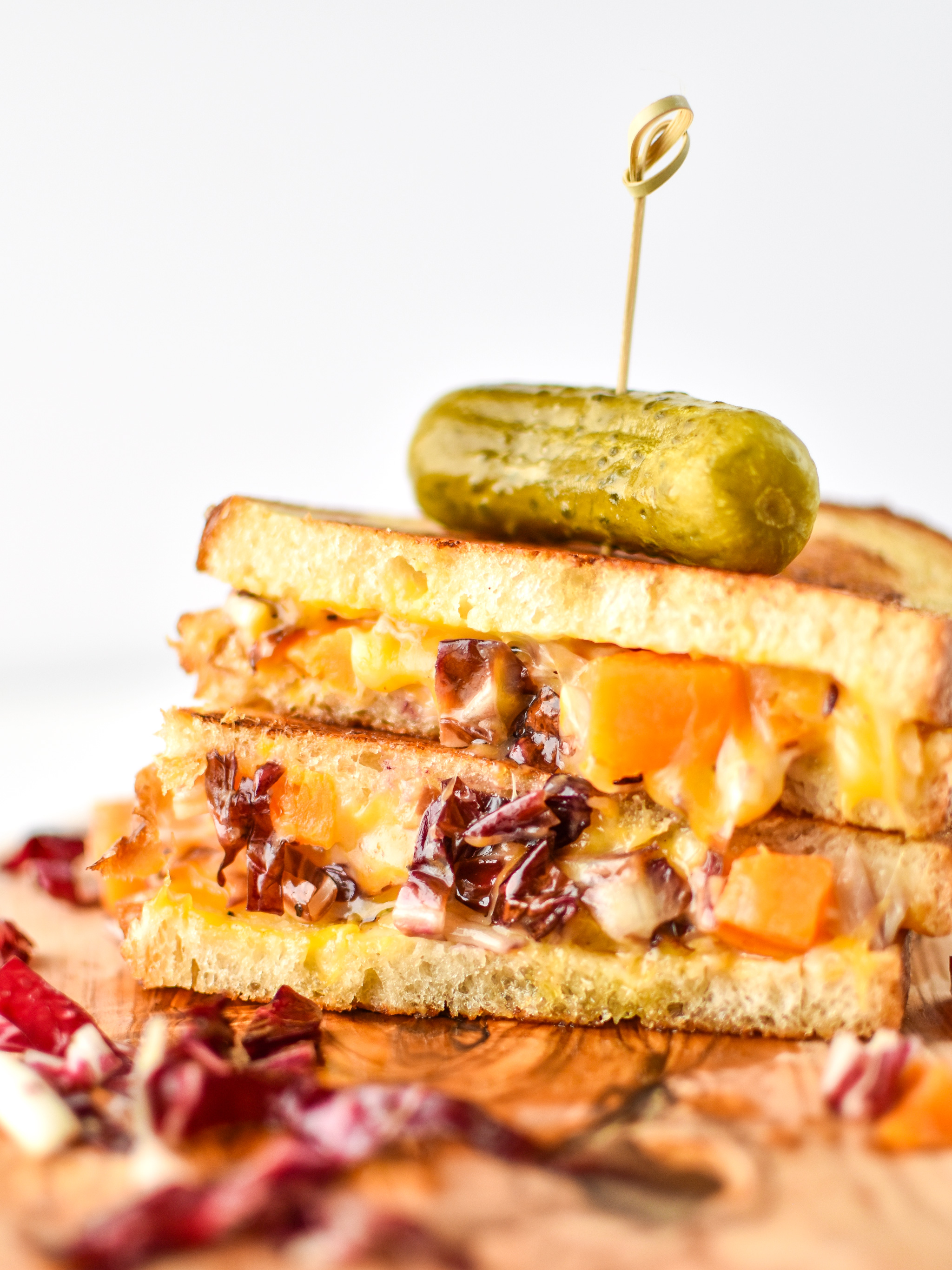 roasted squash salad grilled cheese with a pickle