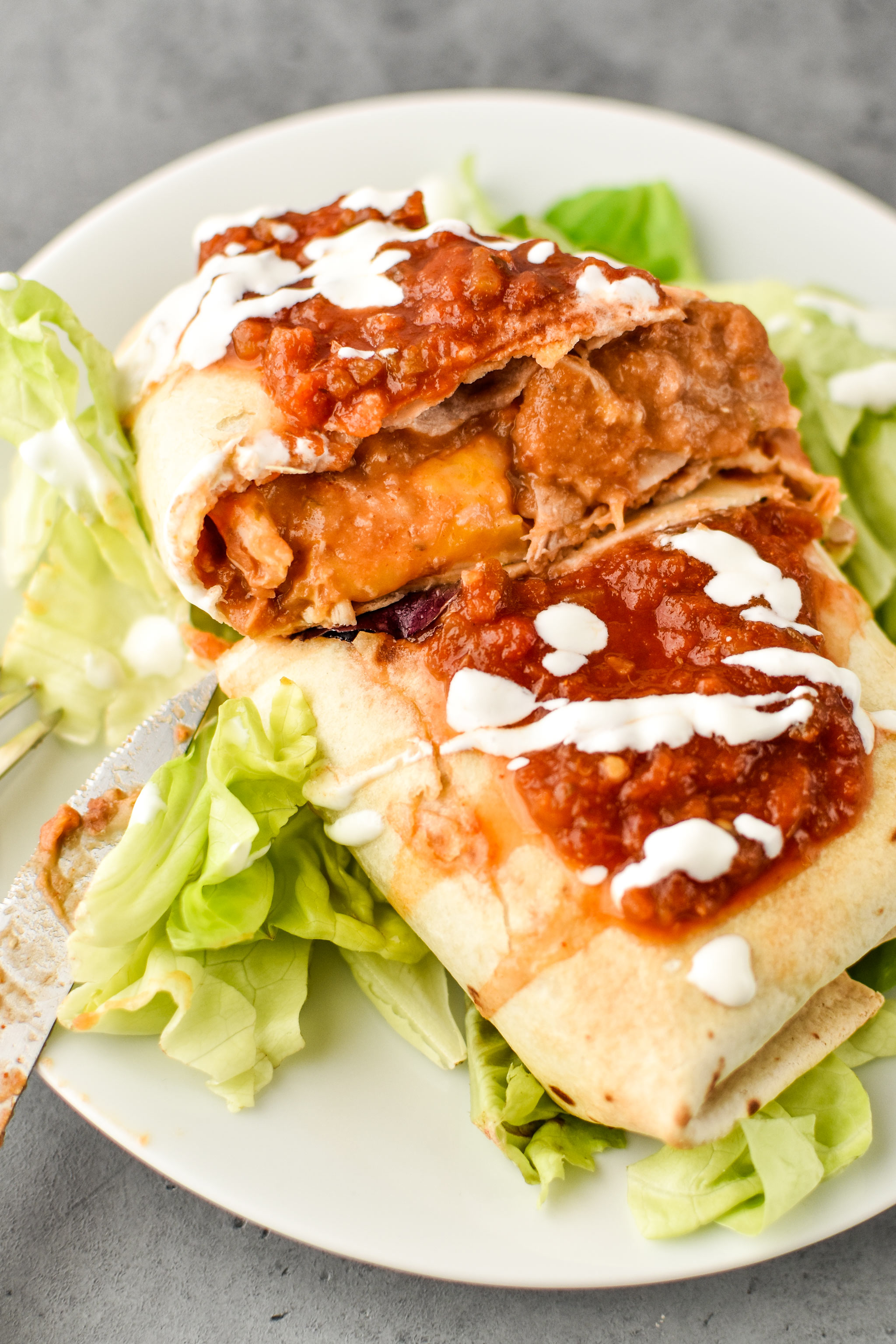 The Simple Baked Salsa Chicken Thighs used in burritos!