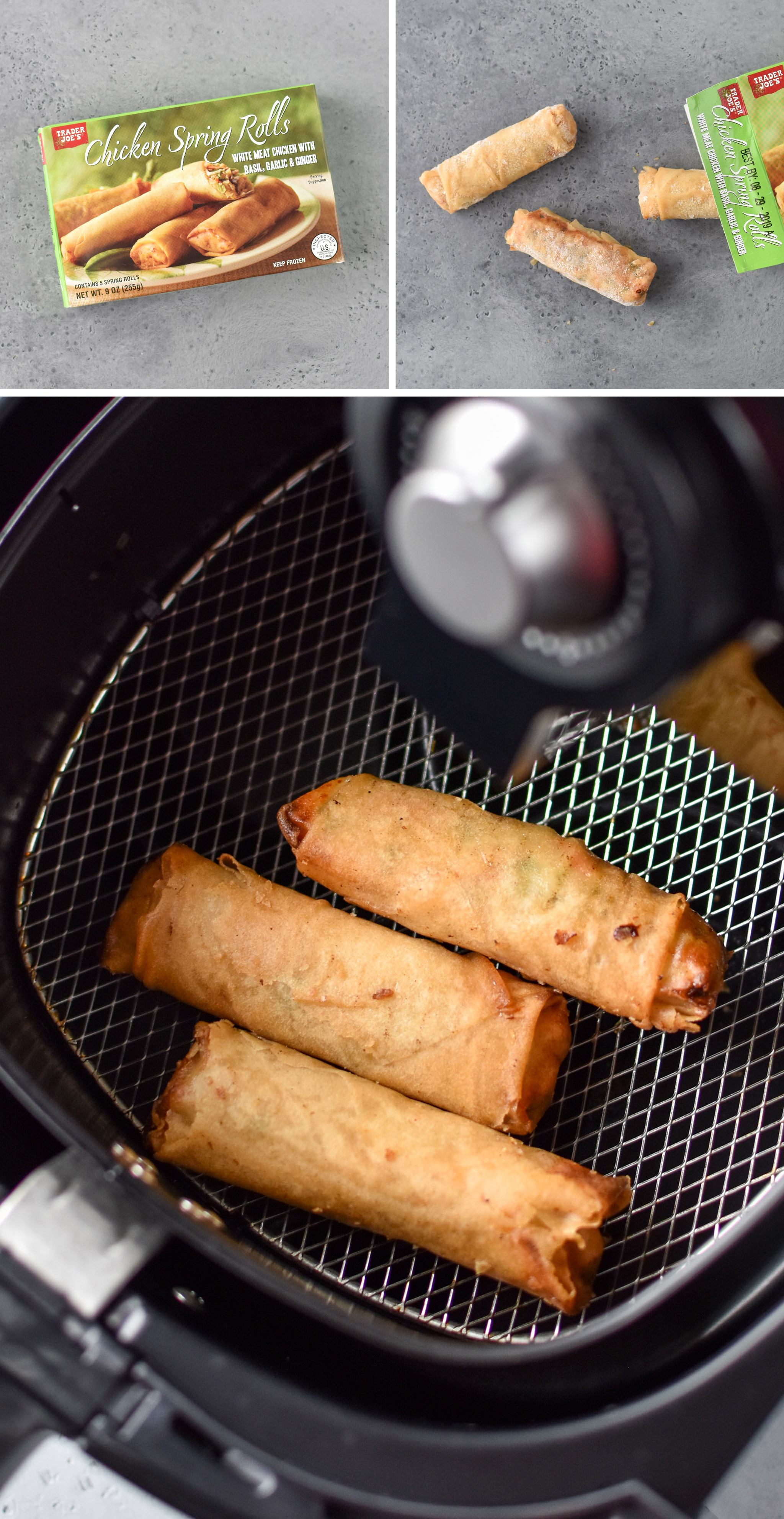 chicken spring rolls from trader joe's made in the air fryer