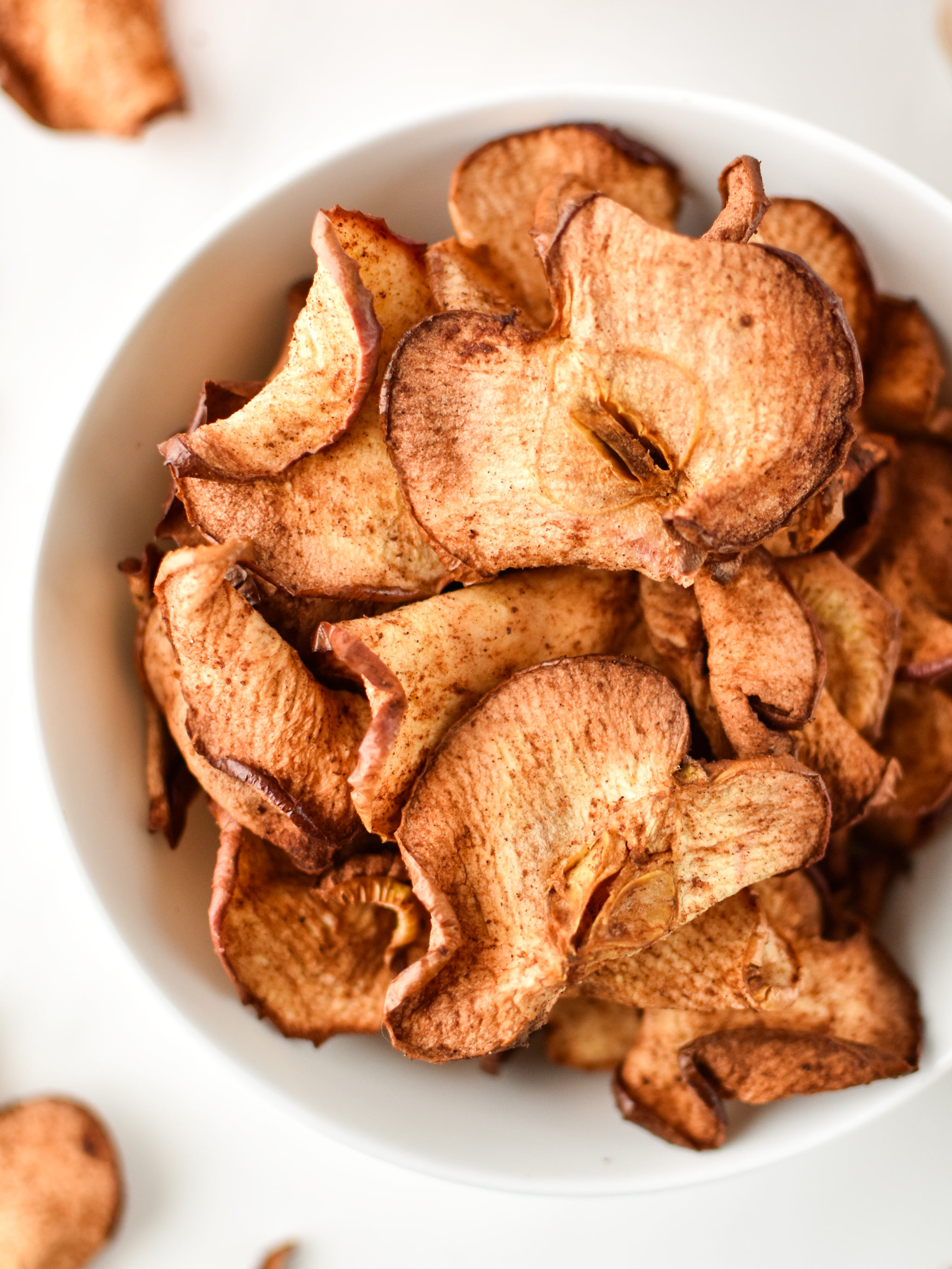 How to Make Apple Chips in an Air Fryer - apple chips shown from above