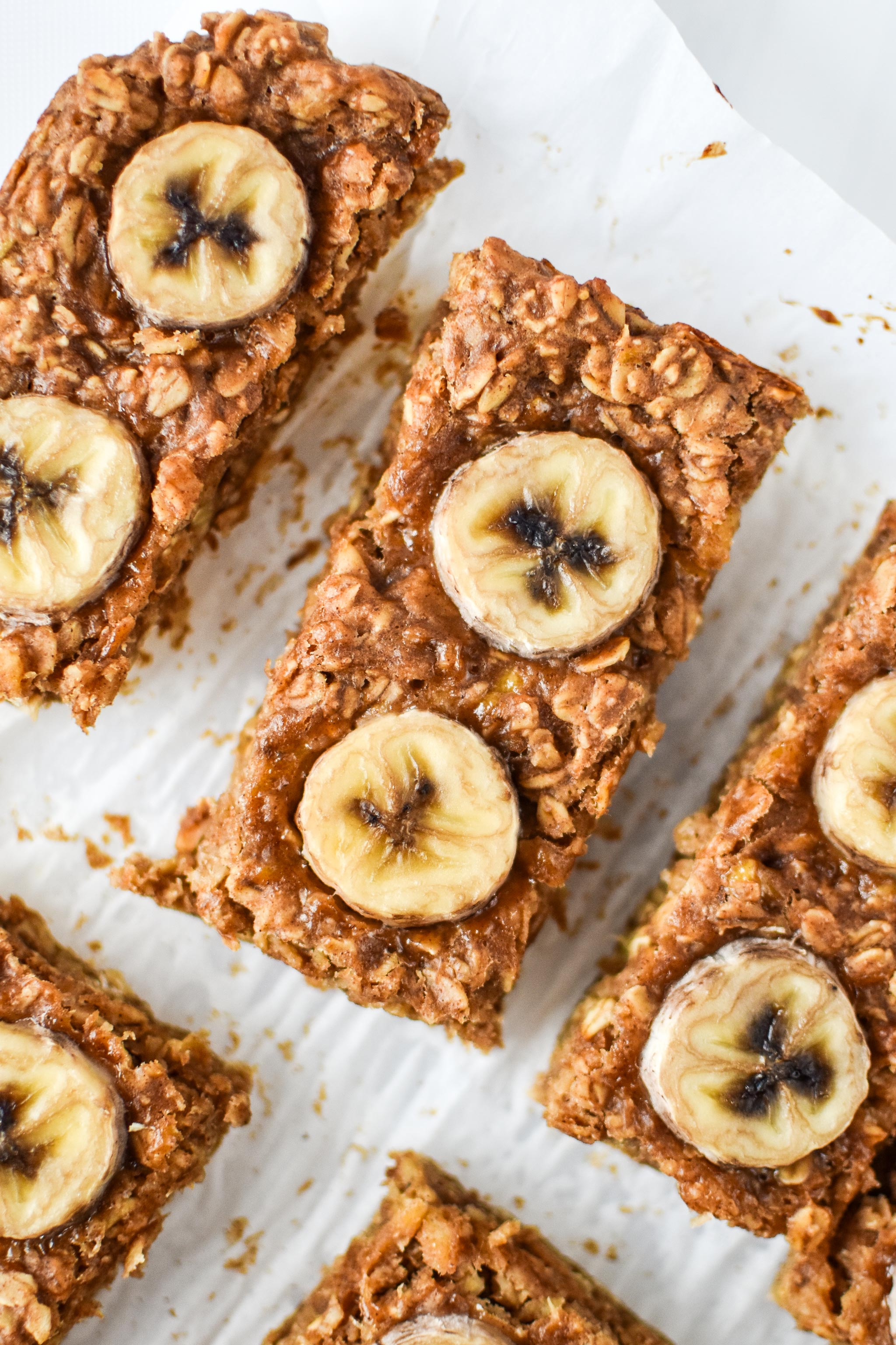 close up of the PB Banana Oatmeal Breakfast Bars
