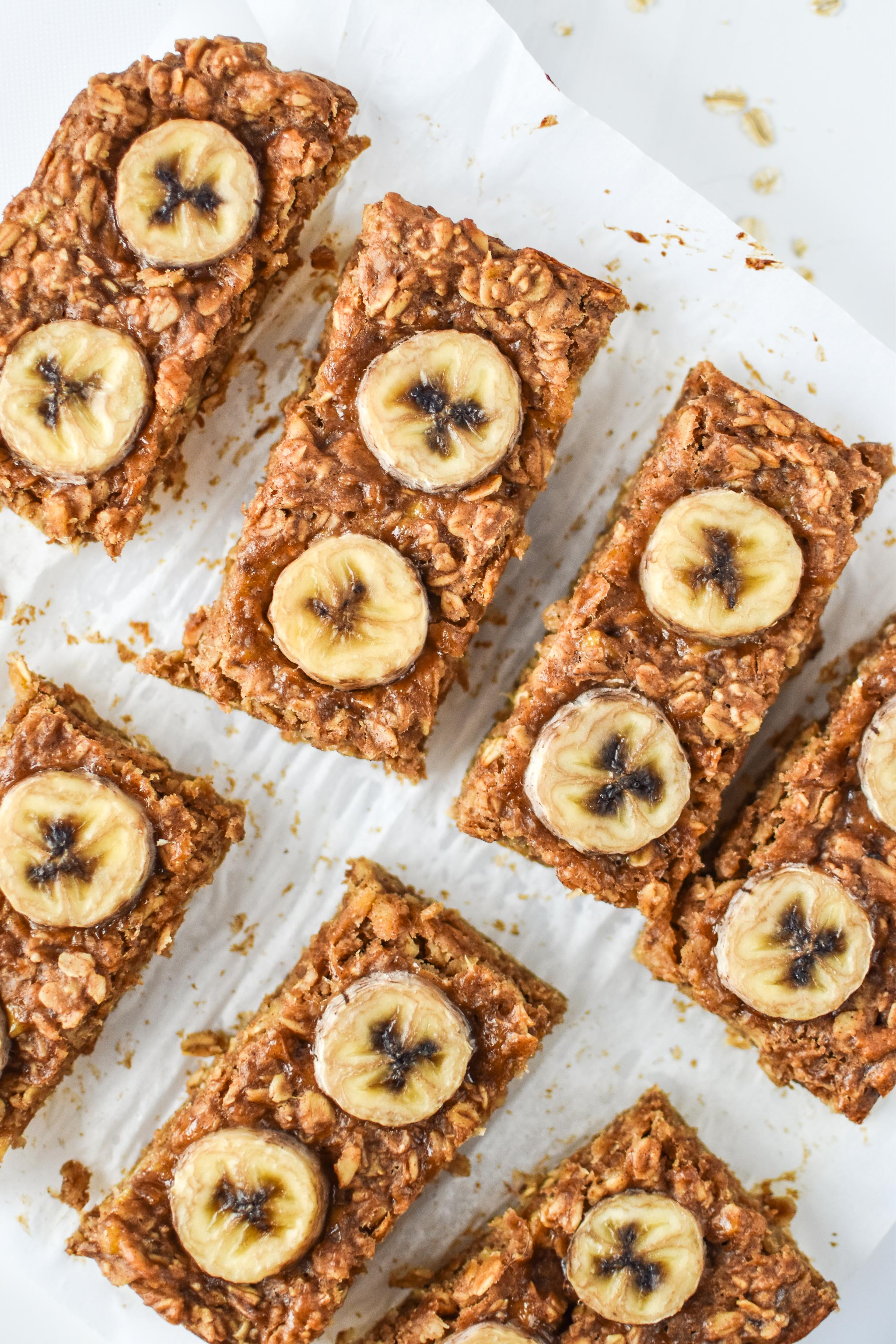Banana Oatmeal Breakfast Bars fresh from the oven and cut into bars.
