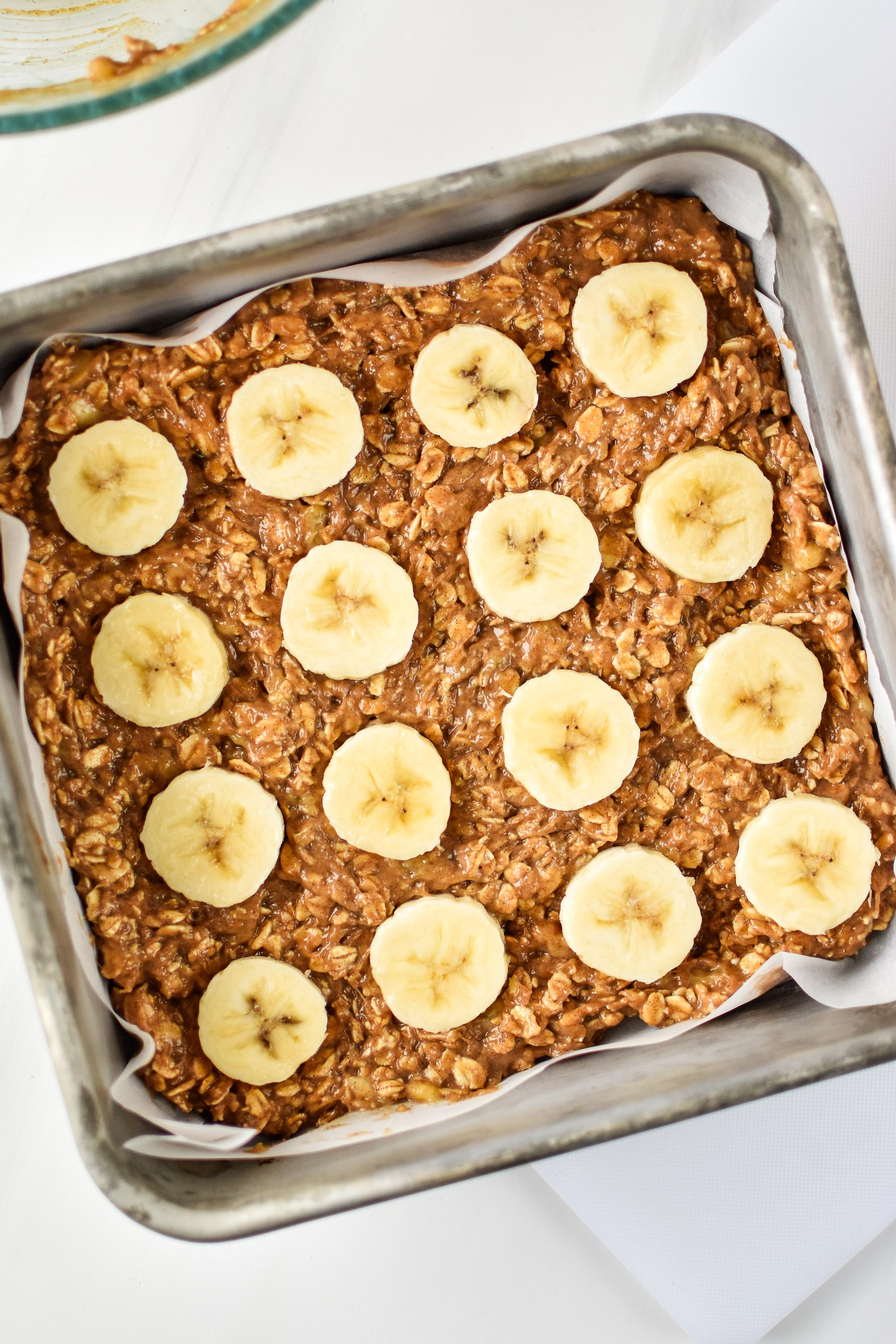 PB Banana Oatmeal Breakfast Bars ready for the oven.
