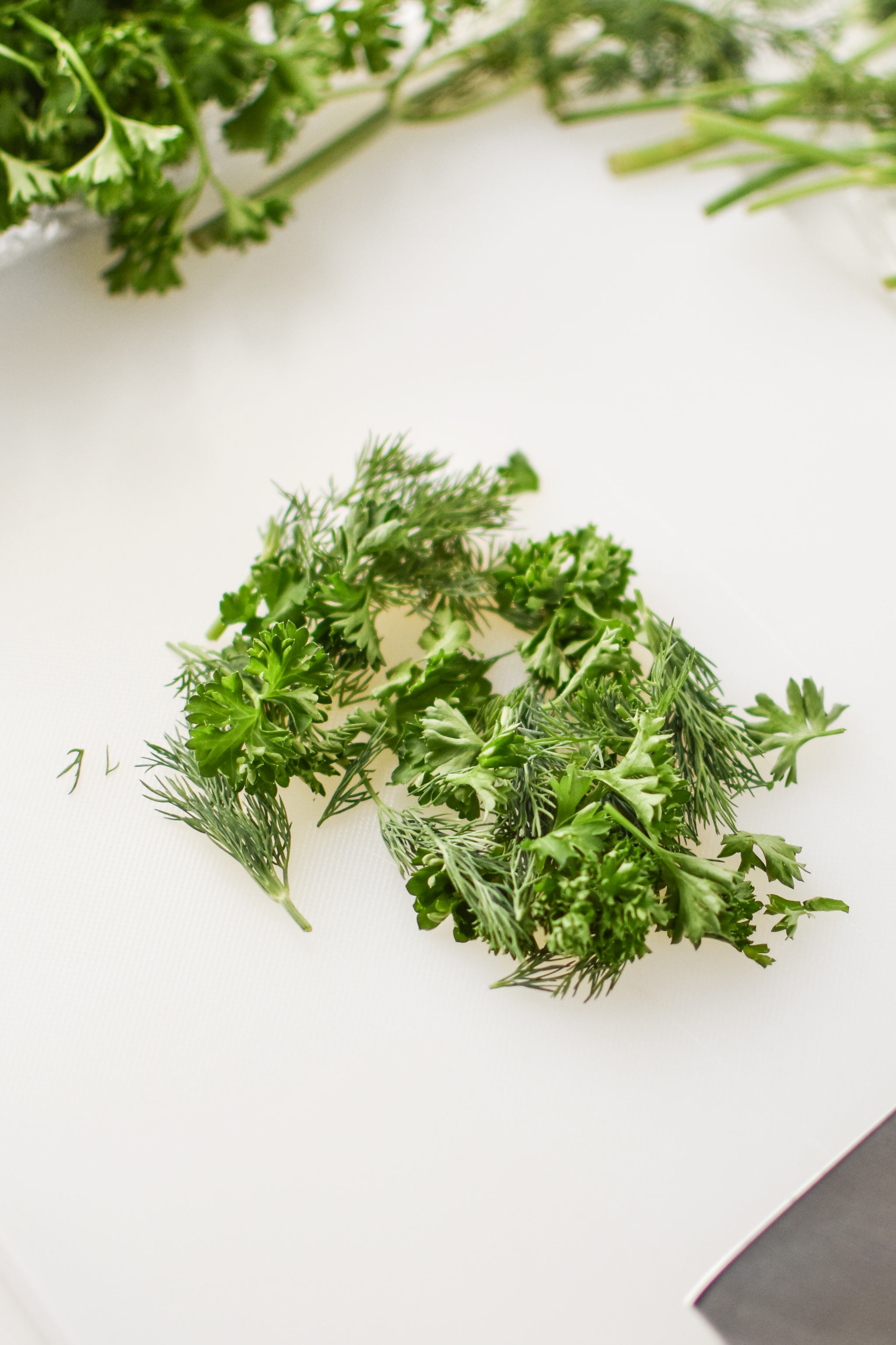 Fresh herbs for the herbed goat cheese rainbow snack boxes