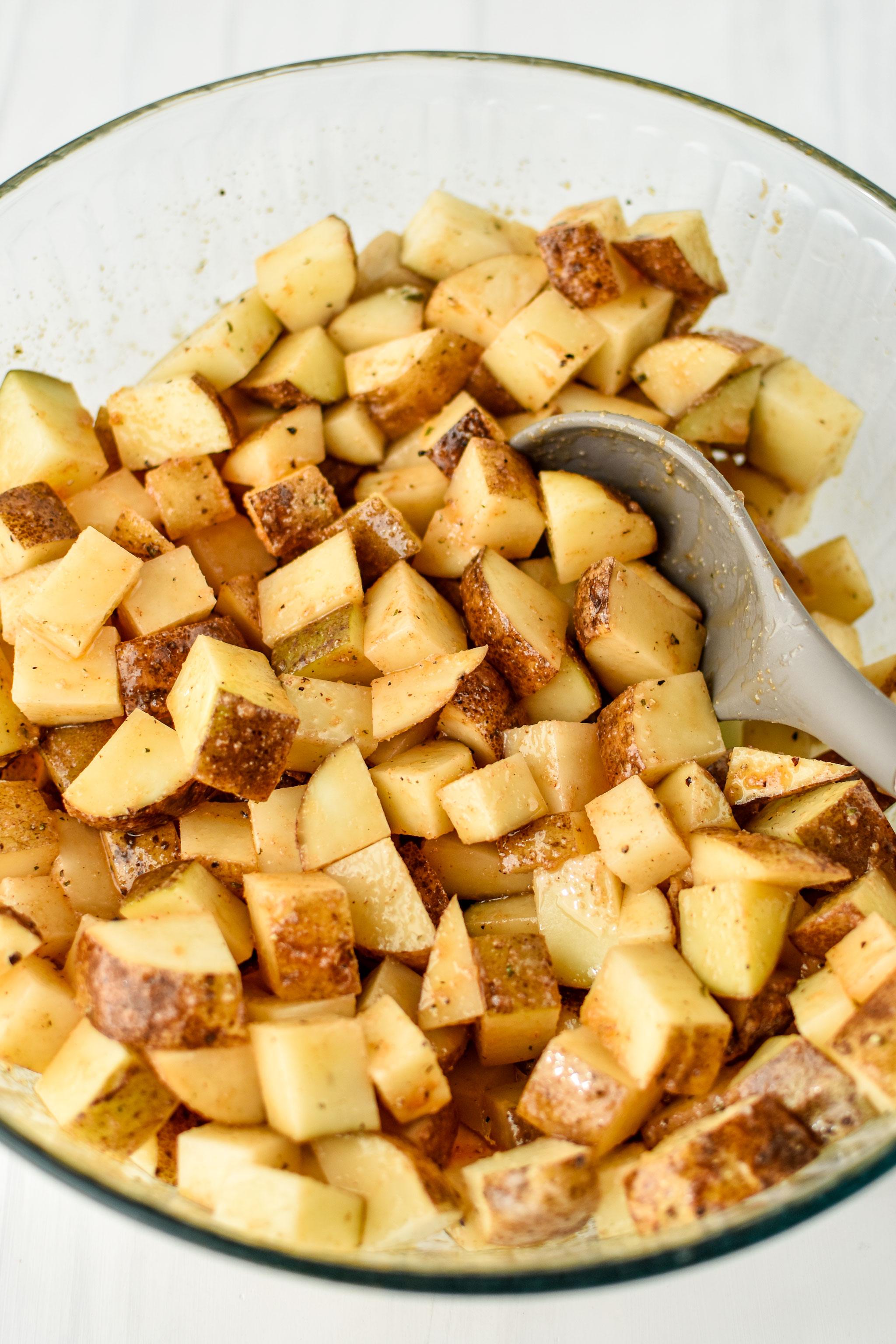 potatoes cut for the chicken bacon ranch potato bake