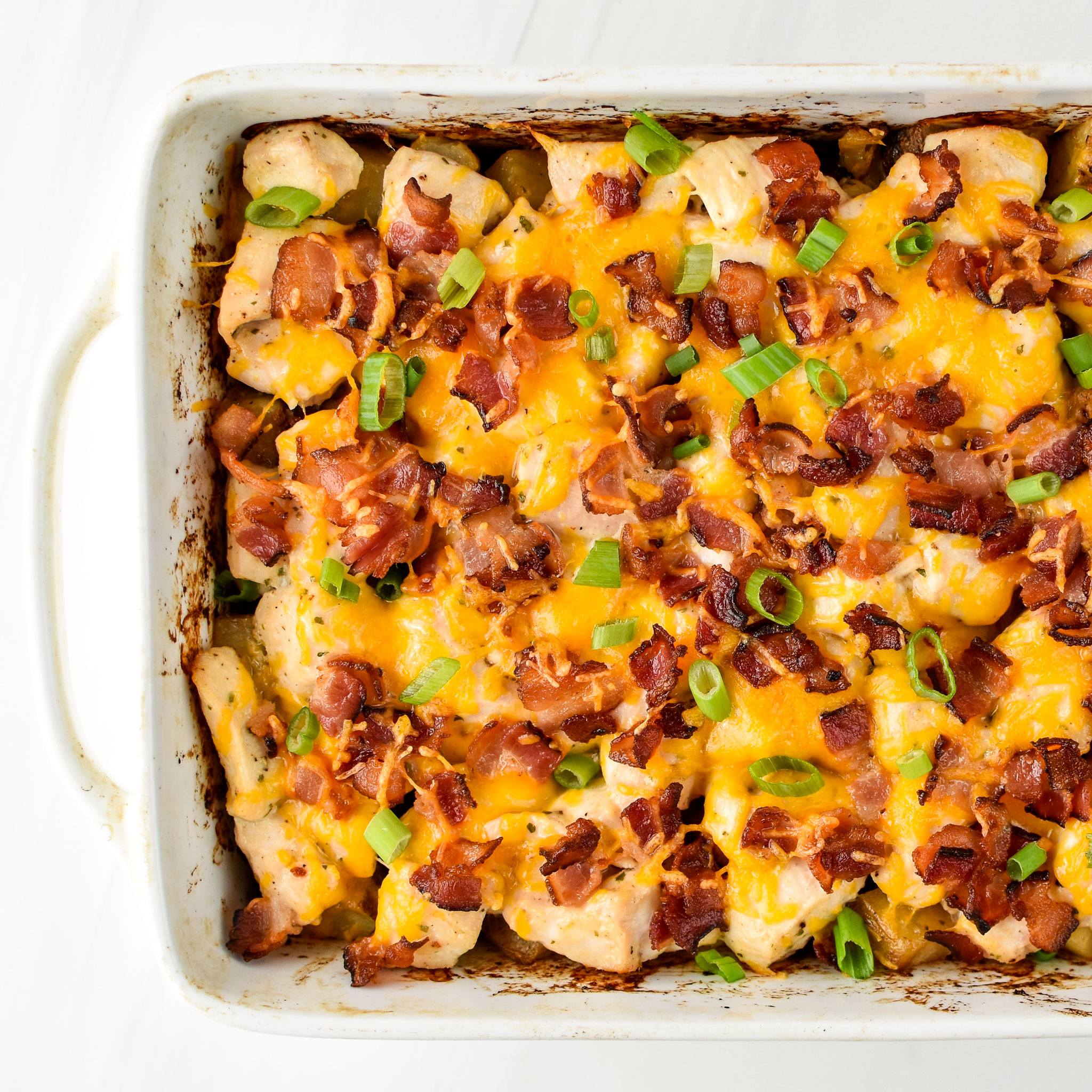 Chicken Bacon Ranch Potato Bake fresh from the oven pictured from above