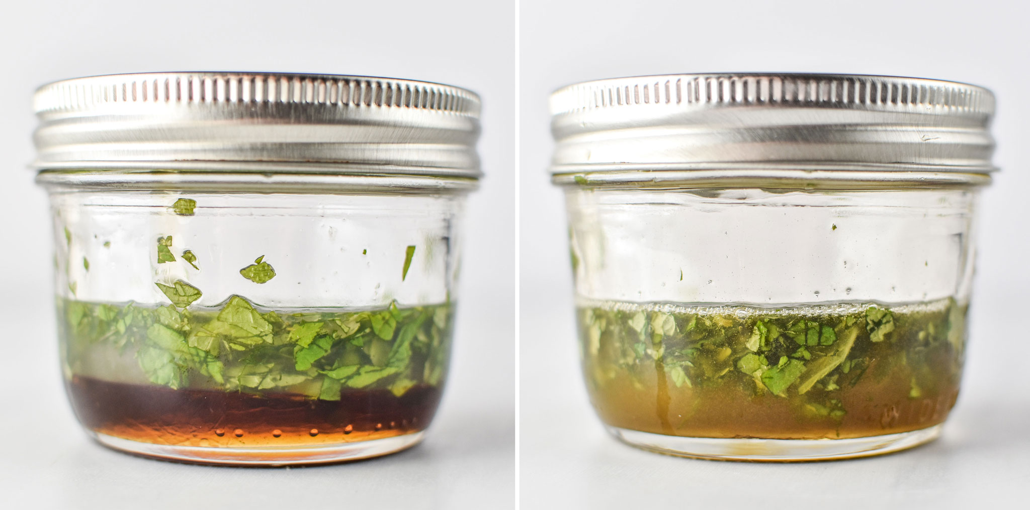 Honey lime mint dressing before and after shaking