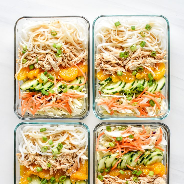 Sesame Chicken Cold Rice Noodle Salad Lunches