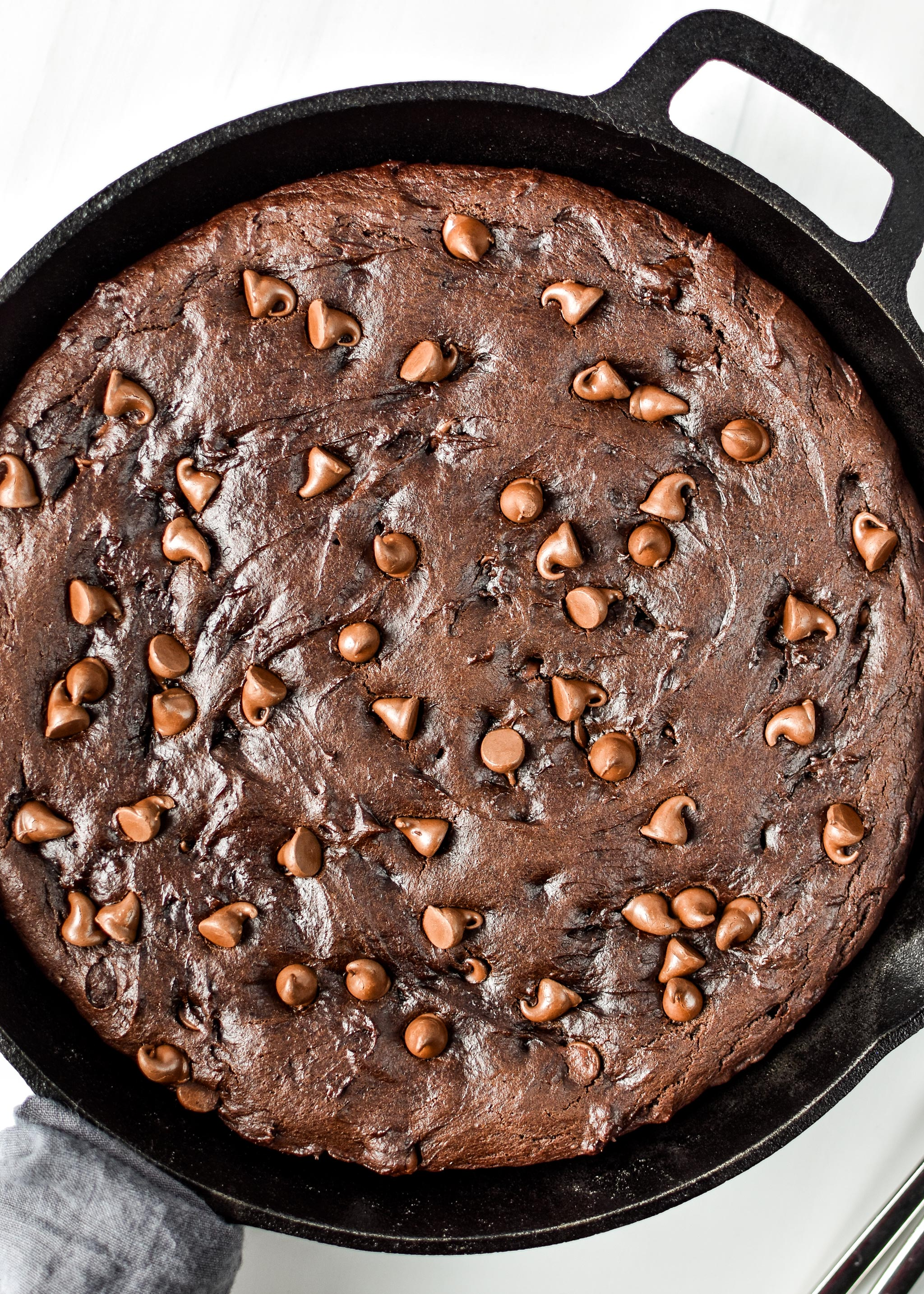 Sweet potato brownie skillet fresh from the oven