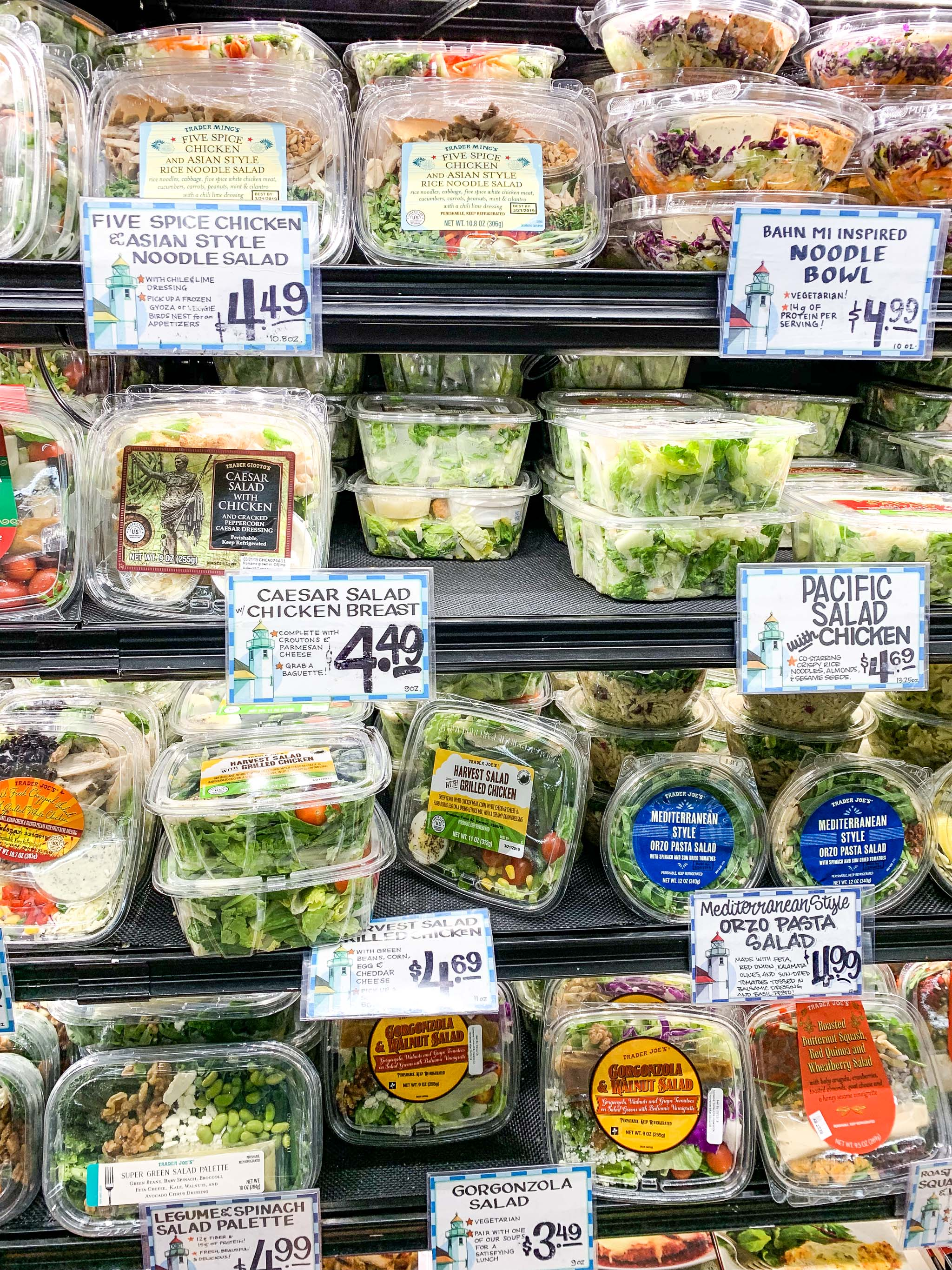 All the lunch salad options at Trader Joe's