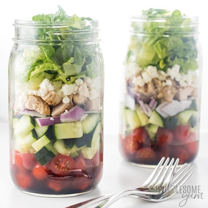 Greek Mason Jar Salad Recipe with Chicken