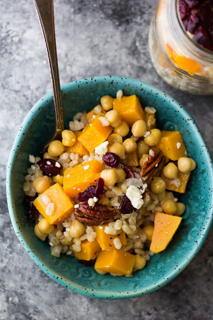 Chickpea, Barley and Butternut Squash Lunch Bowls