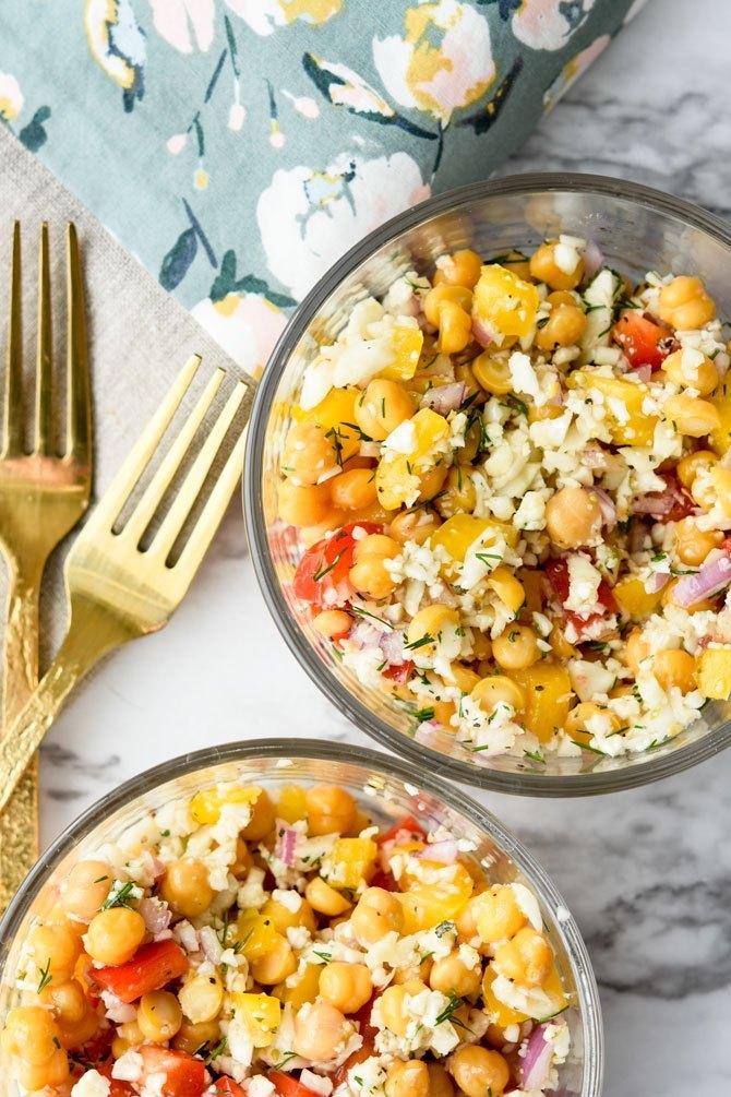 Mediterranean Cauliflower Chickpea Salad