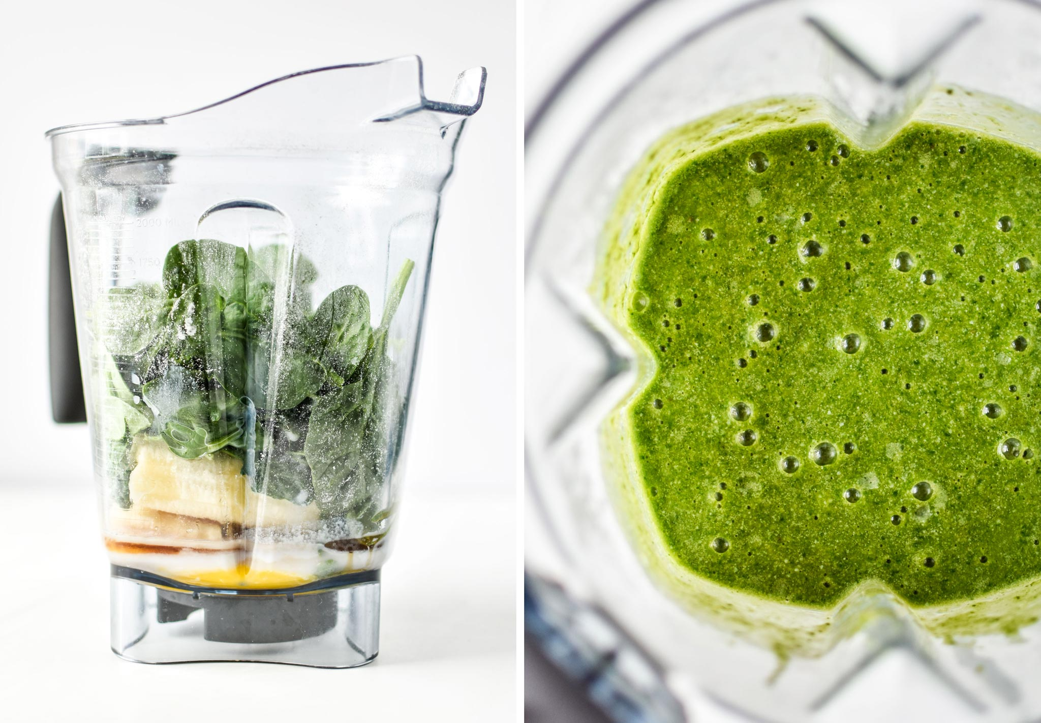 blending ingredients for the chocolate spinach blender muffins