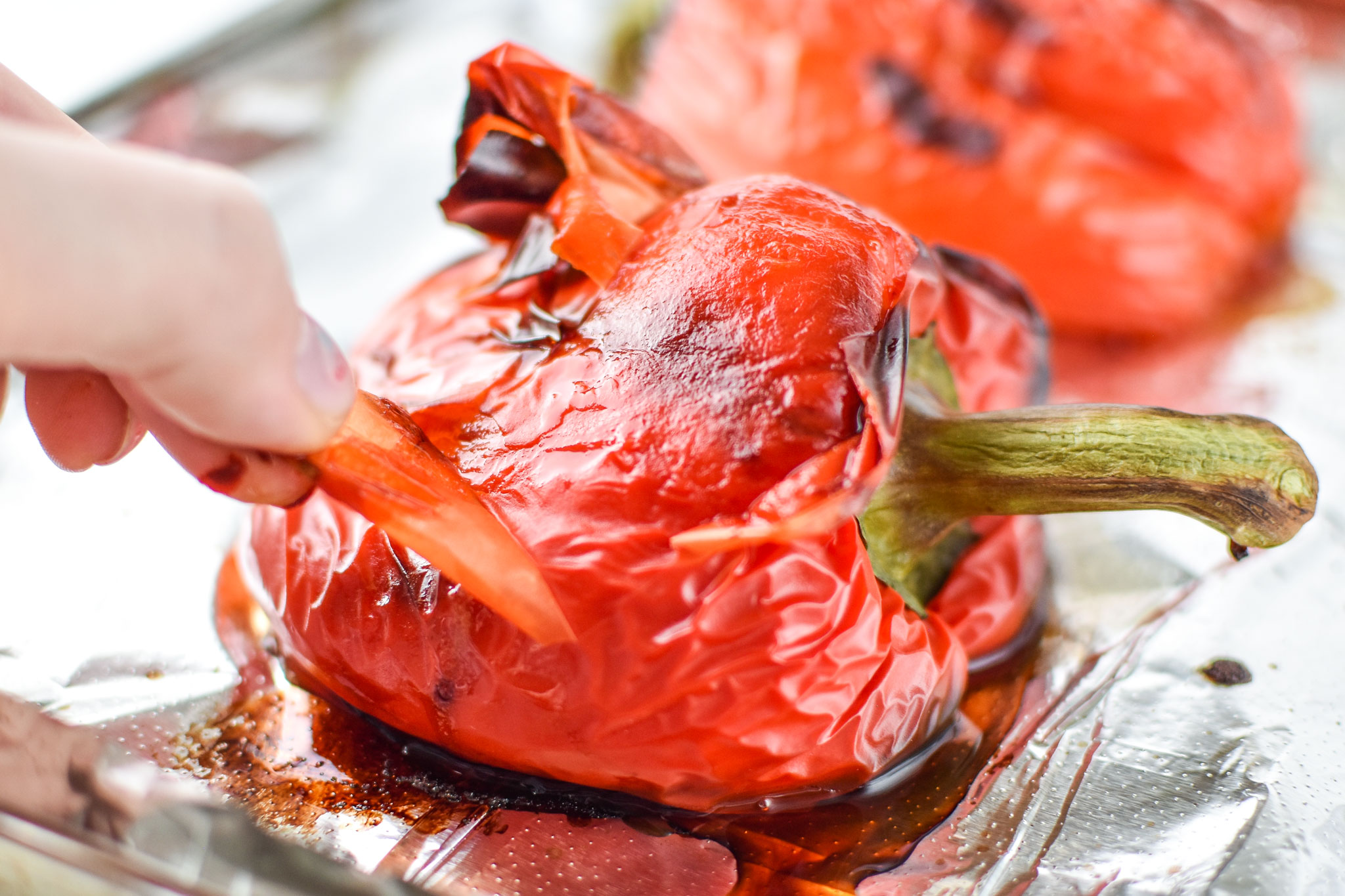what is looks like under the peel of the roasted red bell peppers