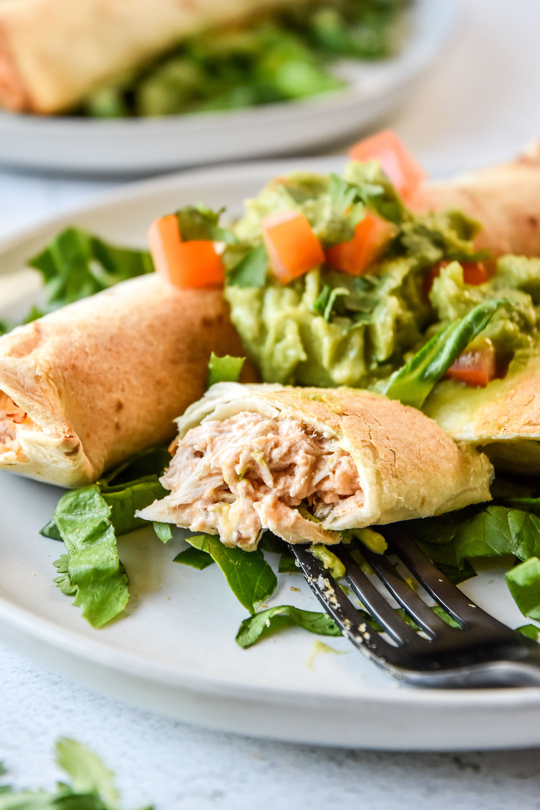 close up of the air fryer chicken taquitos (or flautas!)