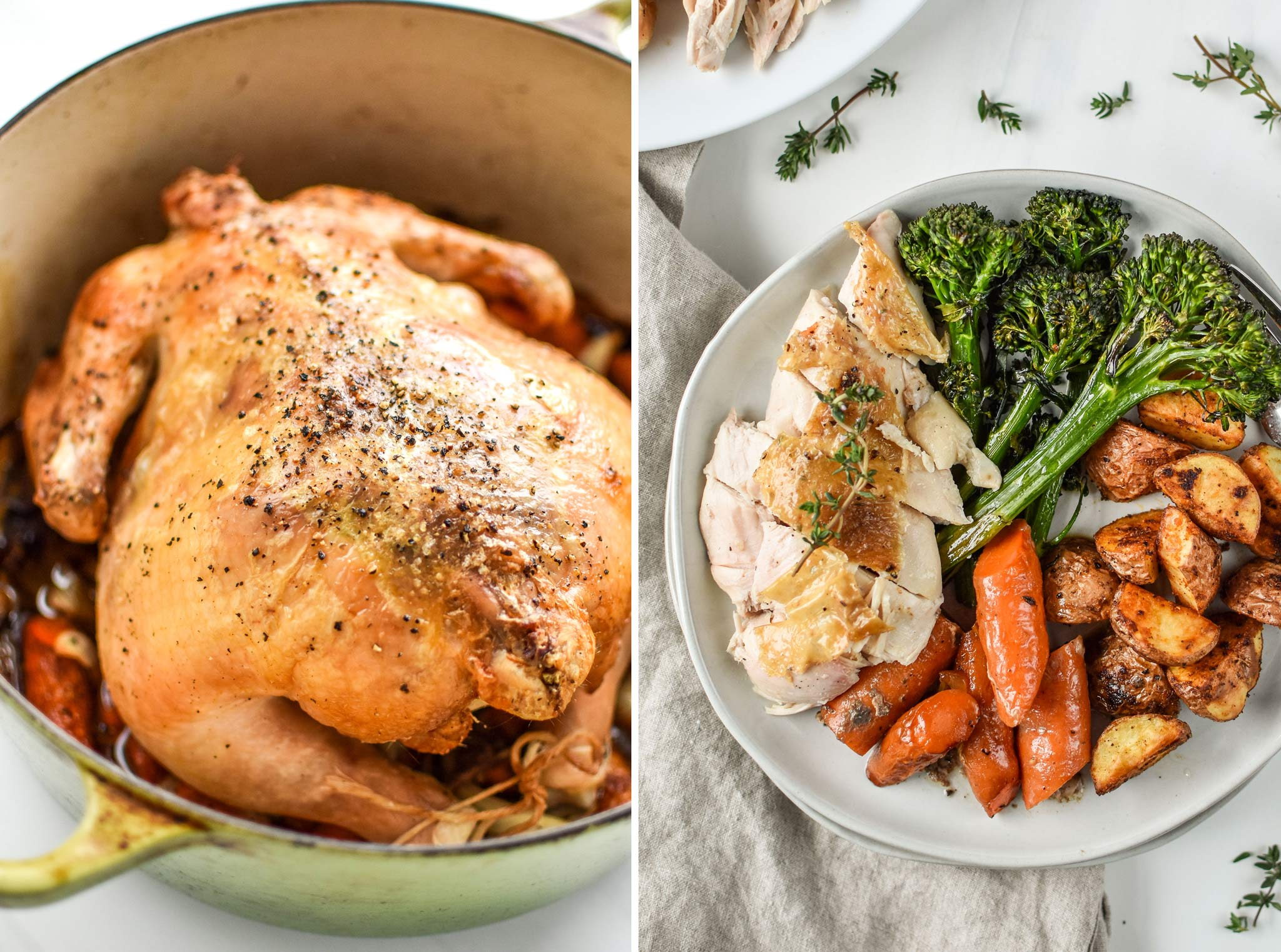 simple whole roast chicken with veggies is a great whole30 dinner recipe that makes excellent leftovers