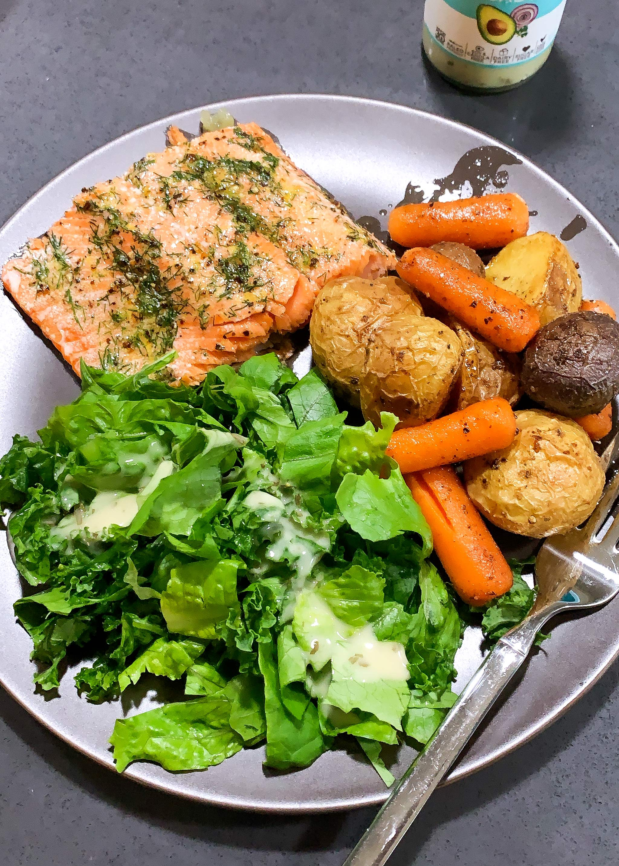 quick baked salmon with vegetables