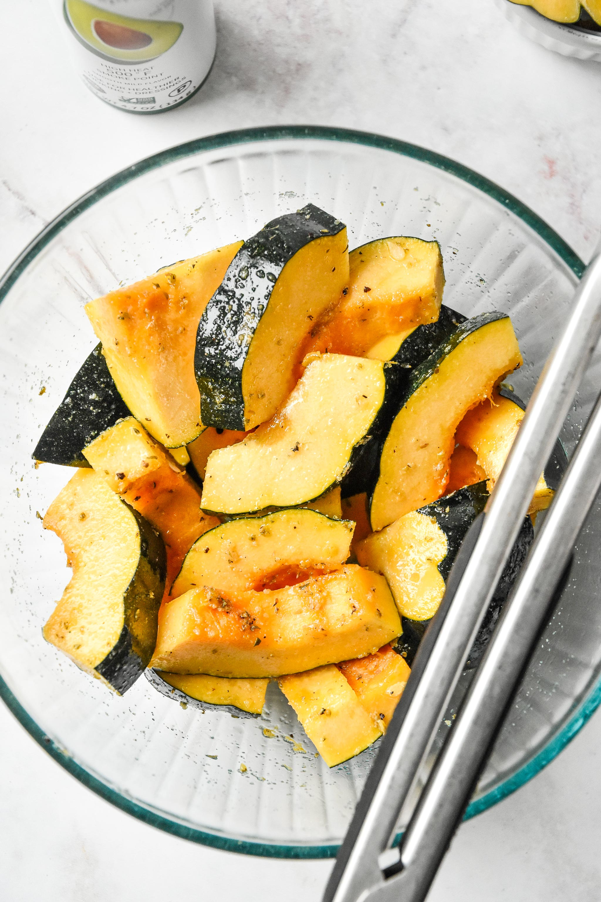 acorn squash quarter moons with oil and seasonings