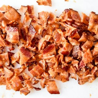 homemade bacon bits on a cutting board