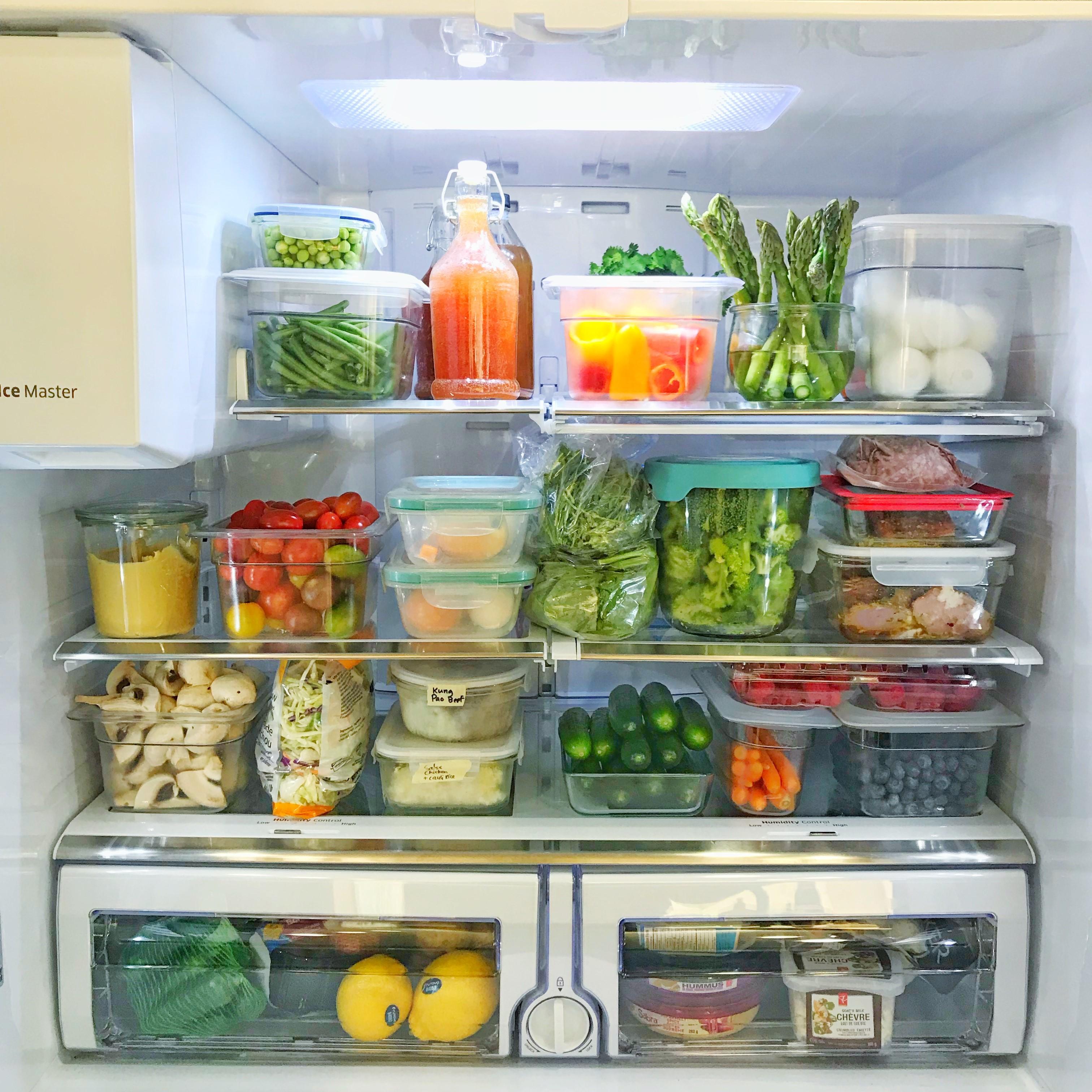 beautiful fridge with meal prep ingredients