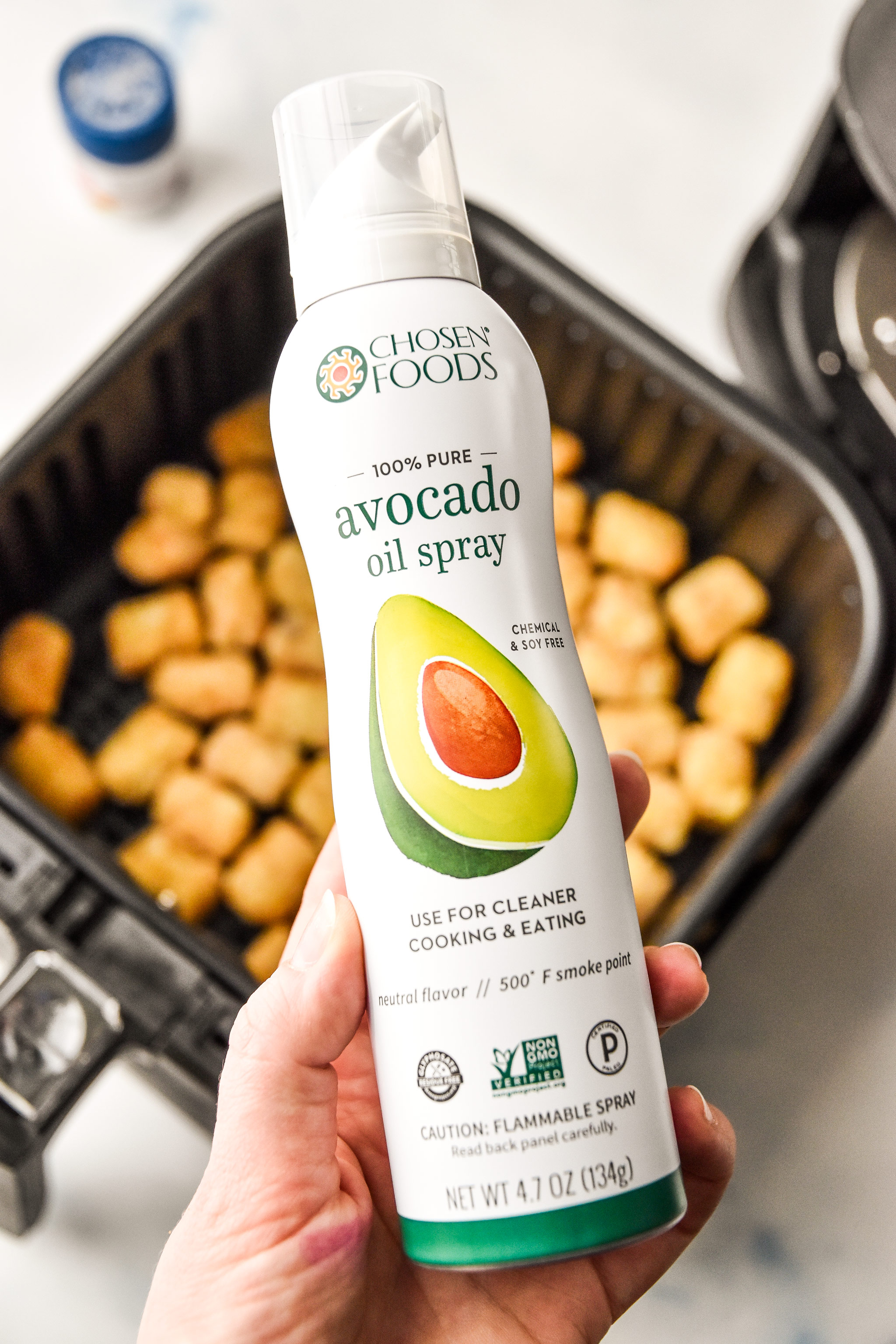 chosen foods avocado spray oil used for making tater tots in an air fryer