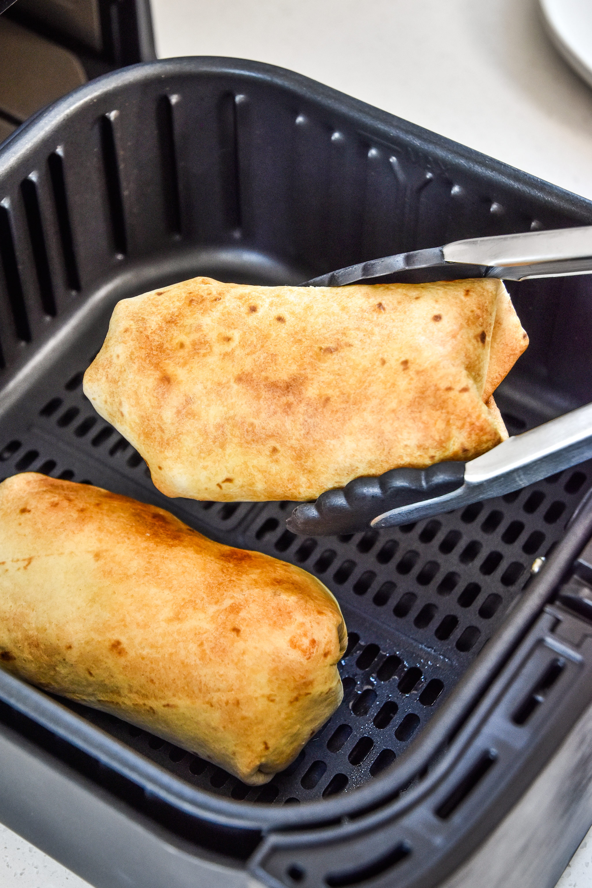 air fryer breakfast burritos just cooked in the air fryer