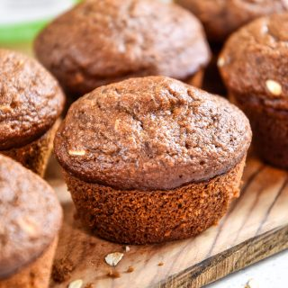 oatmeal applesauce blender muffin on a cutting board close up