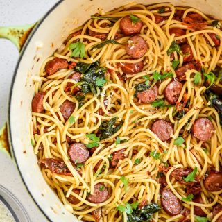 one pot italian sausage pasta just cooked in a big pot