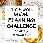 cover photo with text 4 Week Meal Planning Challenge January 2021.